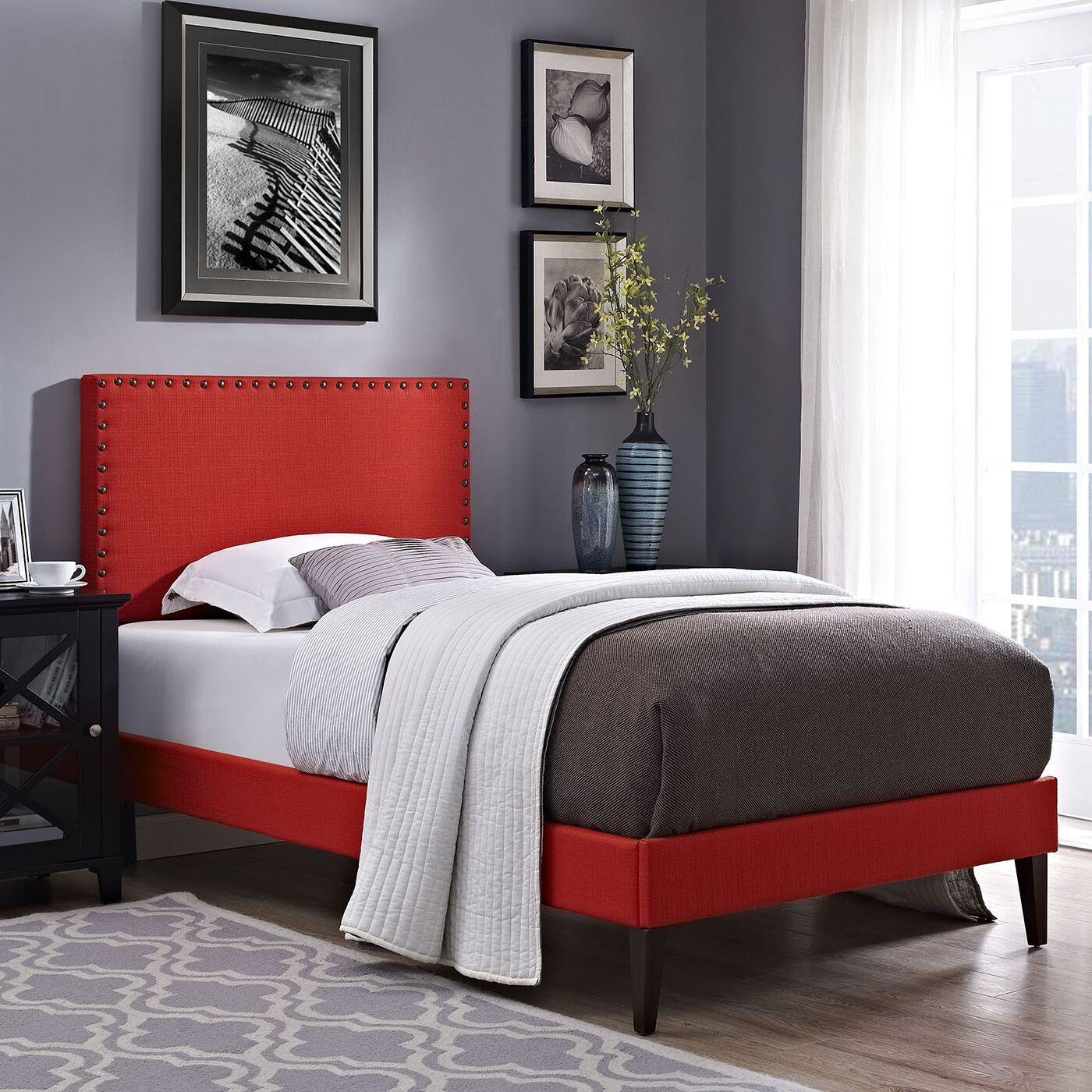 Preiss Upholstered Platform Bed Size: Twin, Color: Sunny