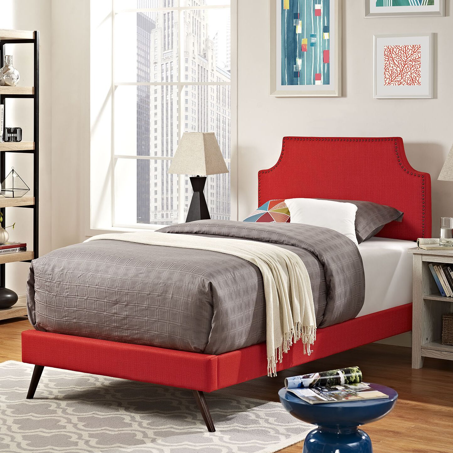Preciado Upholstered Platform Bed Size: Twin, Color: Sunny