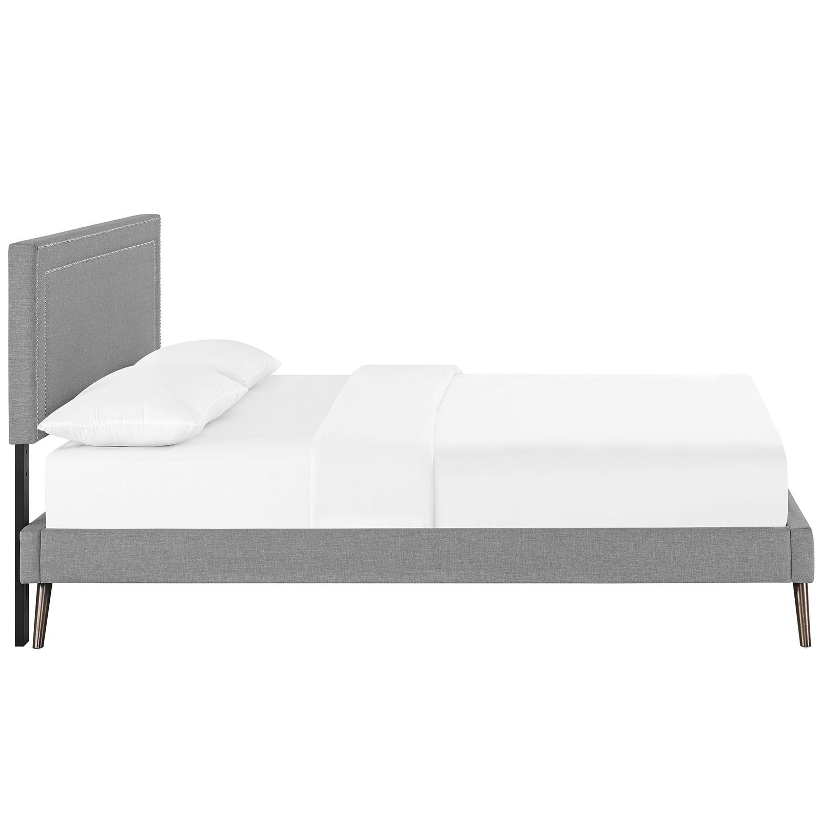 Eyre Upholstered Platform Bed Color: Light Gray, Size: Queen