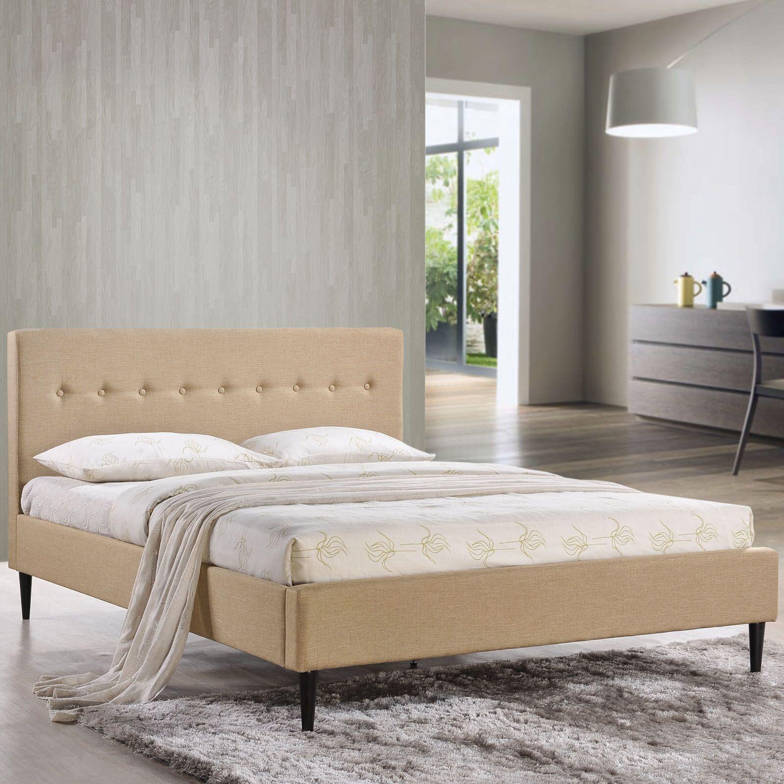 Upholstered Platform Bed Size: Queen, Color: Cafe