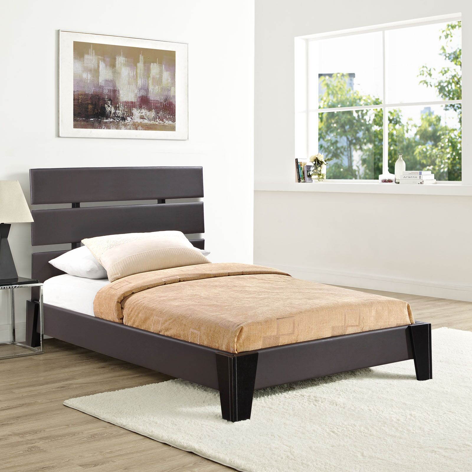 Zoe Upholstered Platform Bed Color: Brown, Size: Twin