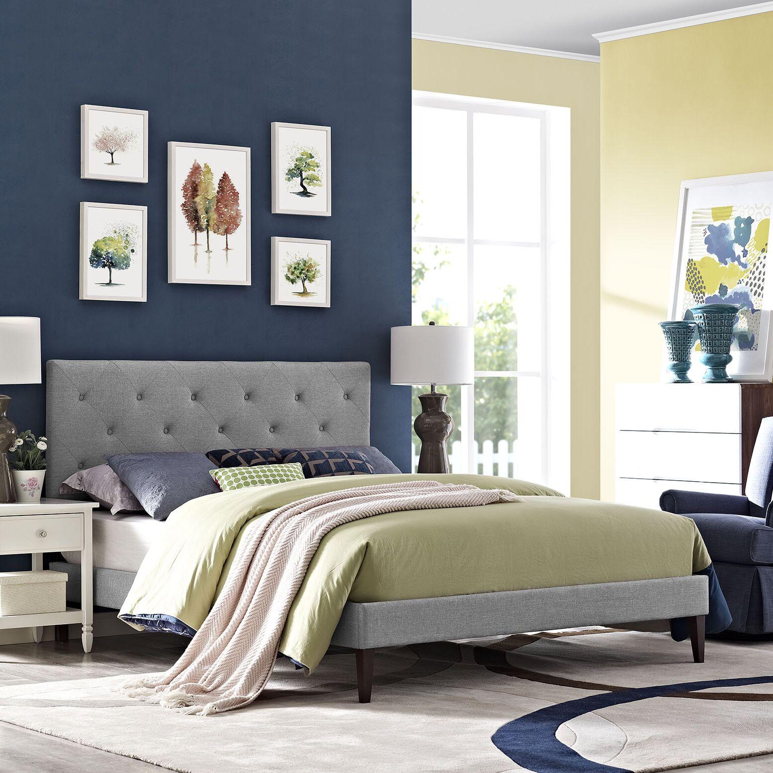 Ziemer Upholstered Platform Bed Size: Full, Color: Light Gray