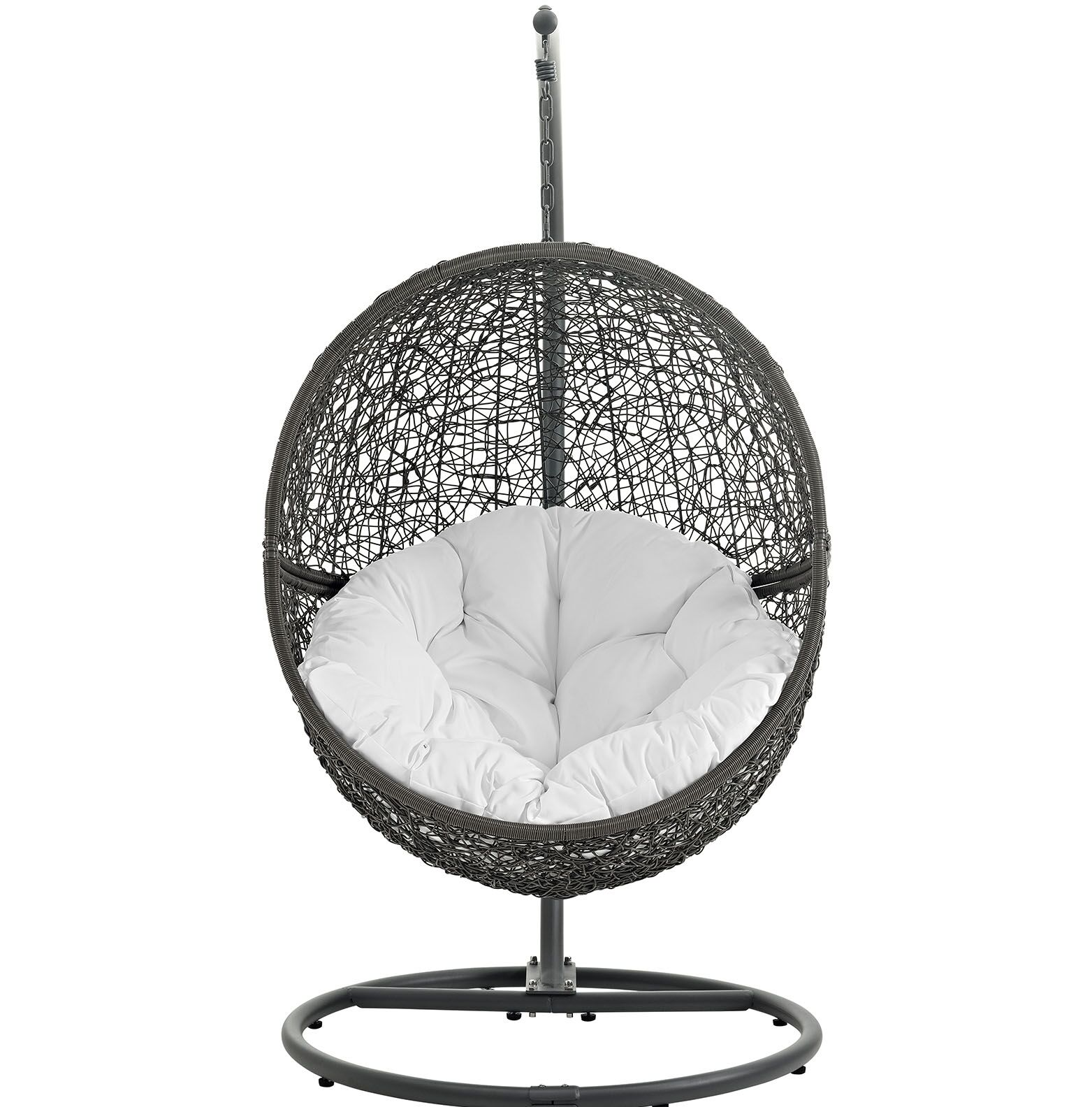 Hide Swing Chair with Stand Color: Gray White