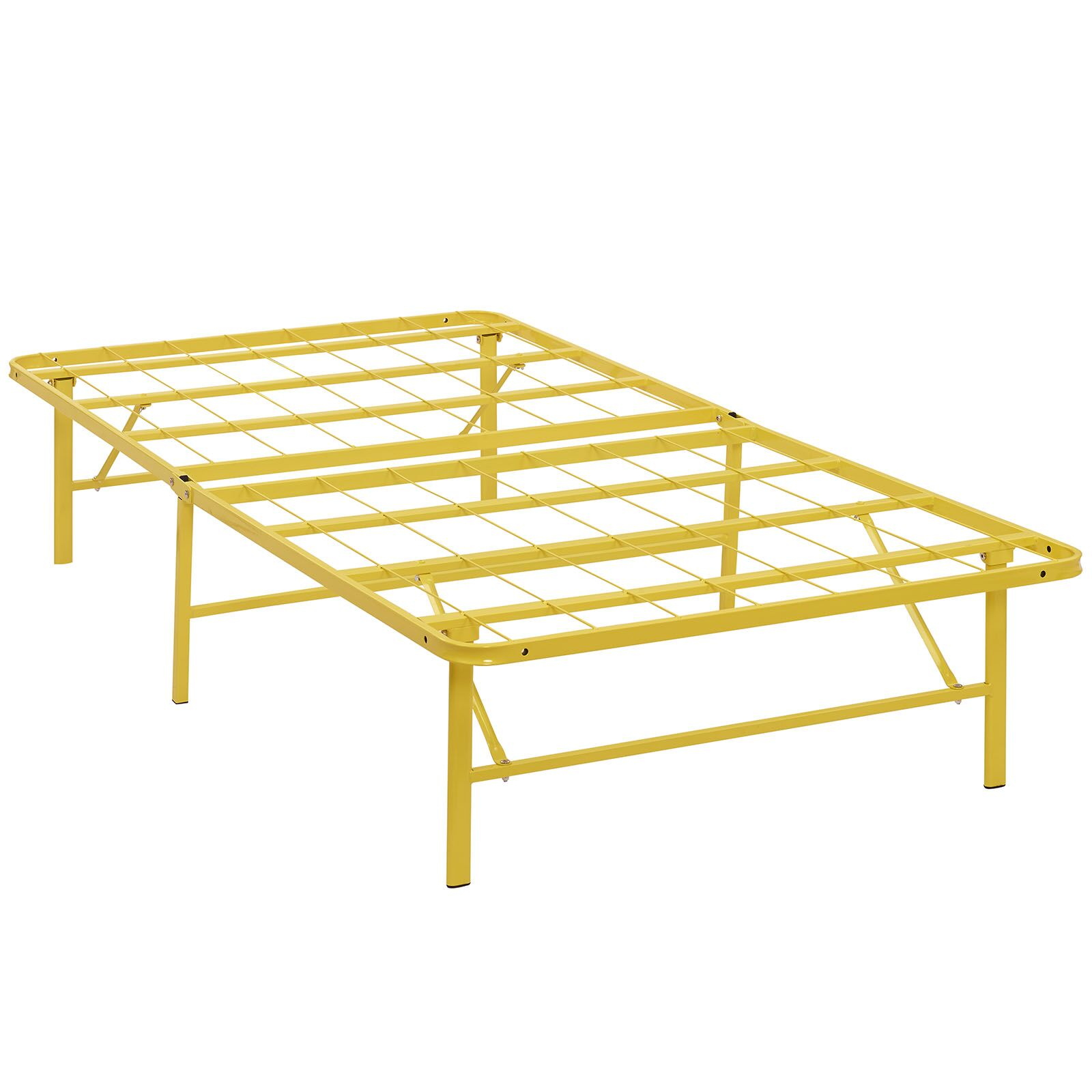 Horizon Steel Bed Frame Color: Yellow, Size: Queen
