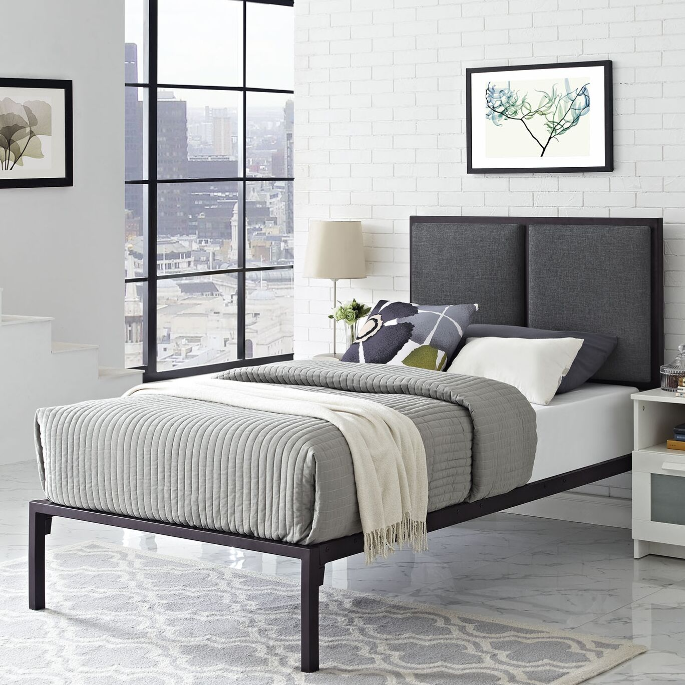 Della Fabric Upholstered Platform Bed Frame Color: White, Headboard Color: Azure, Size: Queen