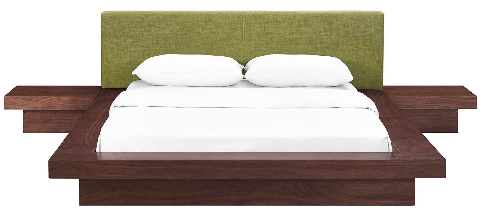 Rennan Queen Platform 3 Piece Bedroom Set Headboard Color: Green, Frame Finish: Walnut
