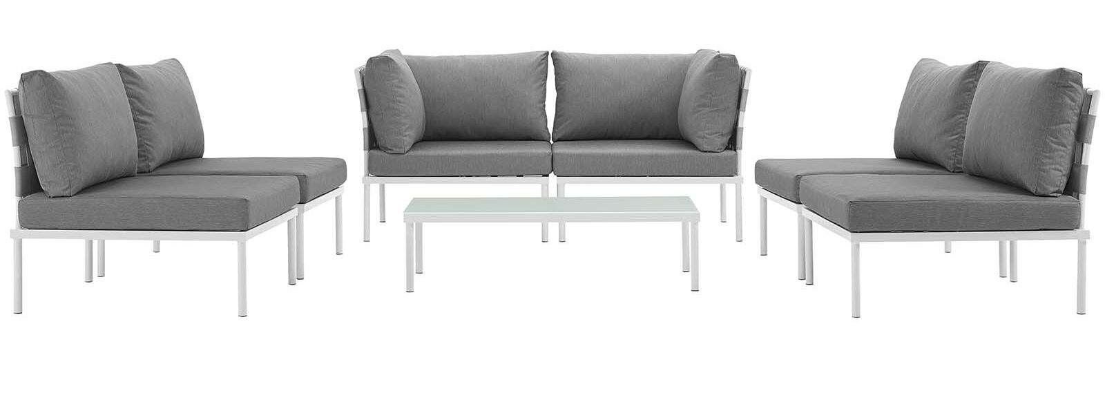 Darnell 7 Piece Sofa Set with Cushions Fabric: Gray