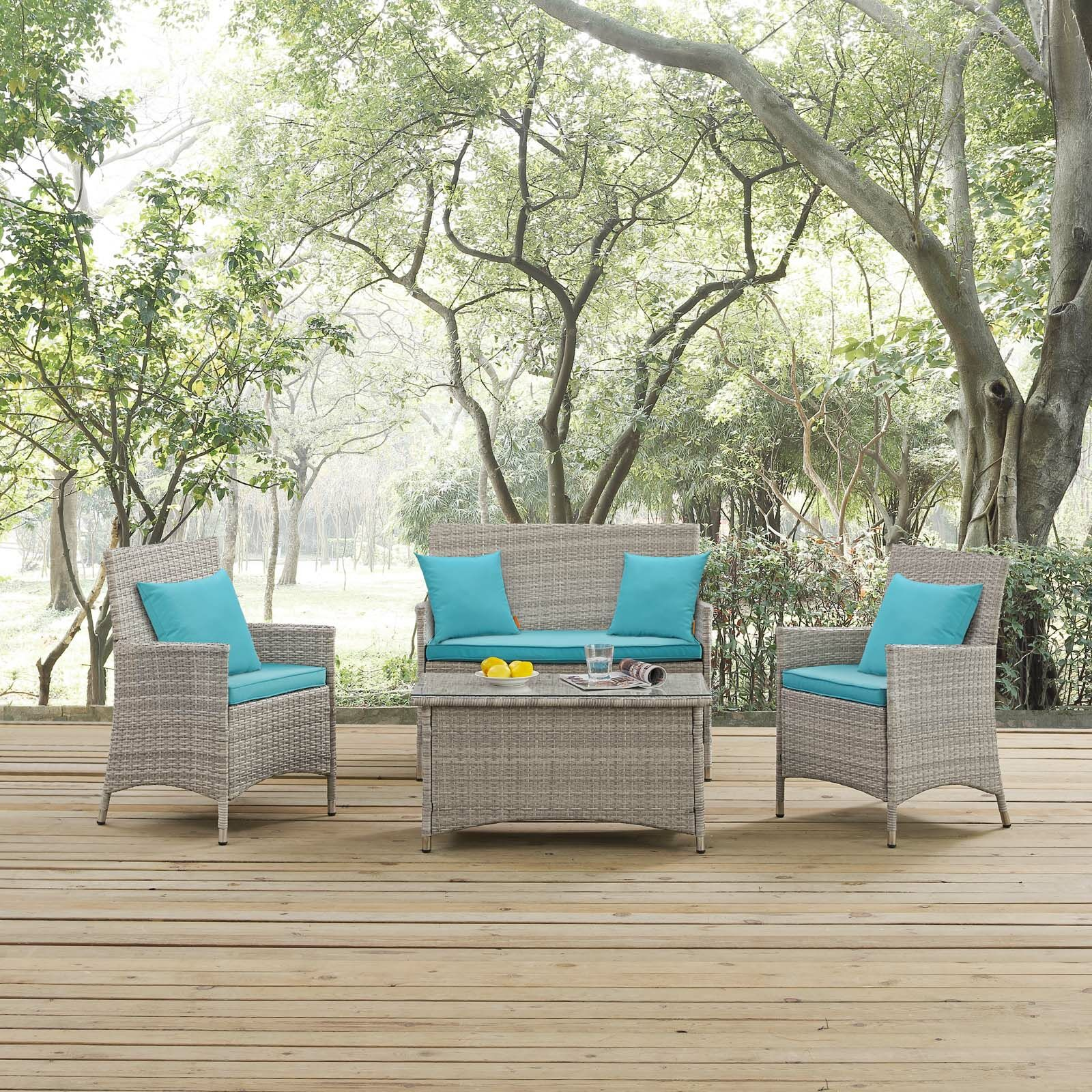 Azucena 4 Piece Rattan Sofa Set with Cushions Fabric: Turquoise