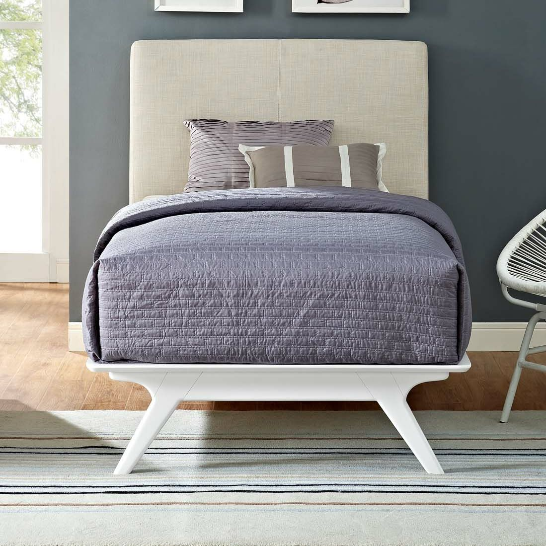 Hannigan Upholstered Platform Bed Color: Beige, Size: Full