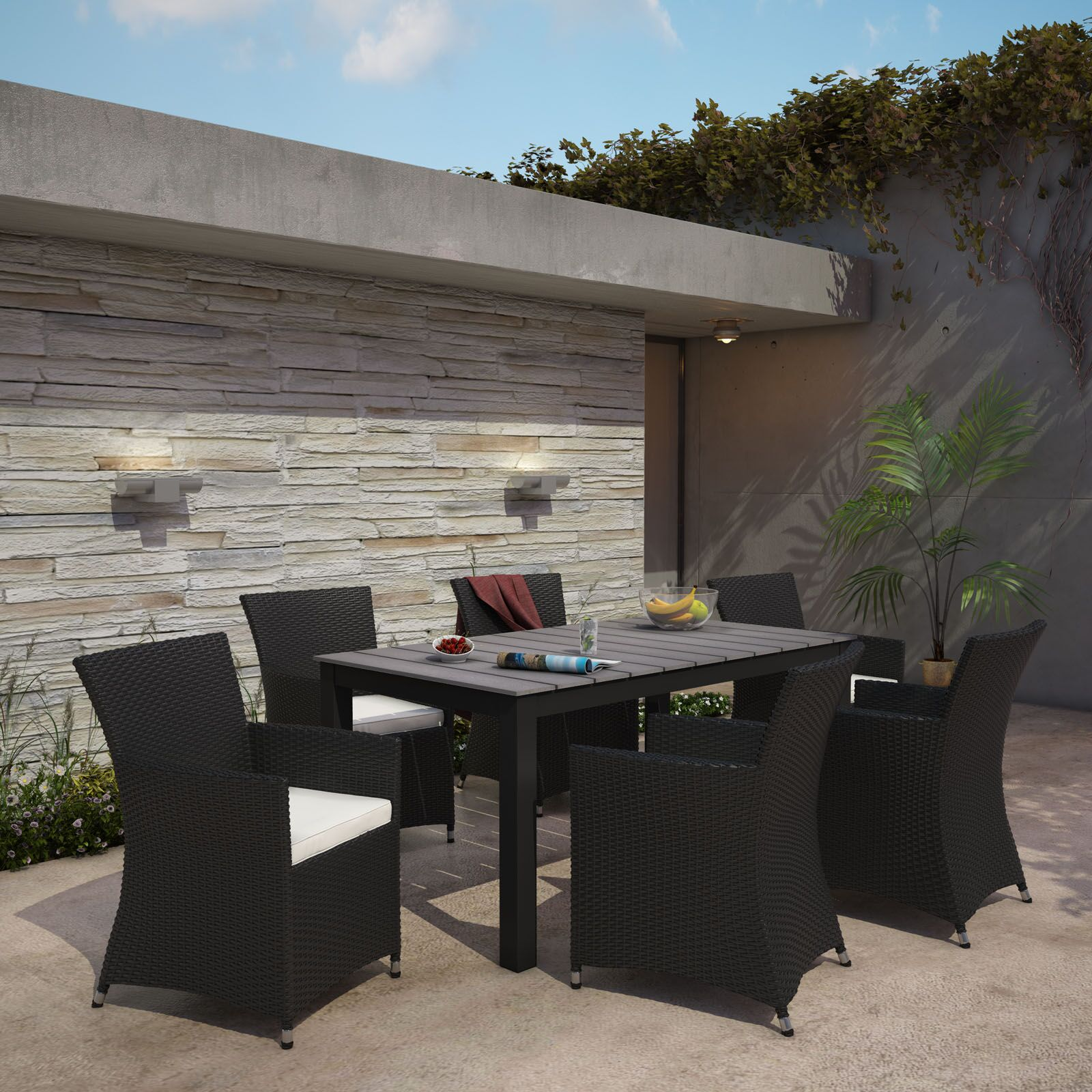 Junction 7 Piece Outdoor Patio Dining Set with Cushion Table Size: 63