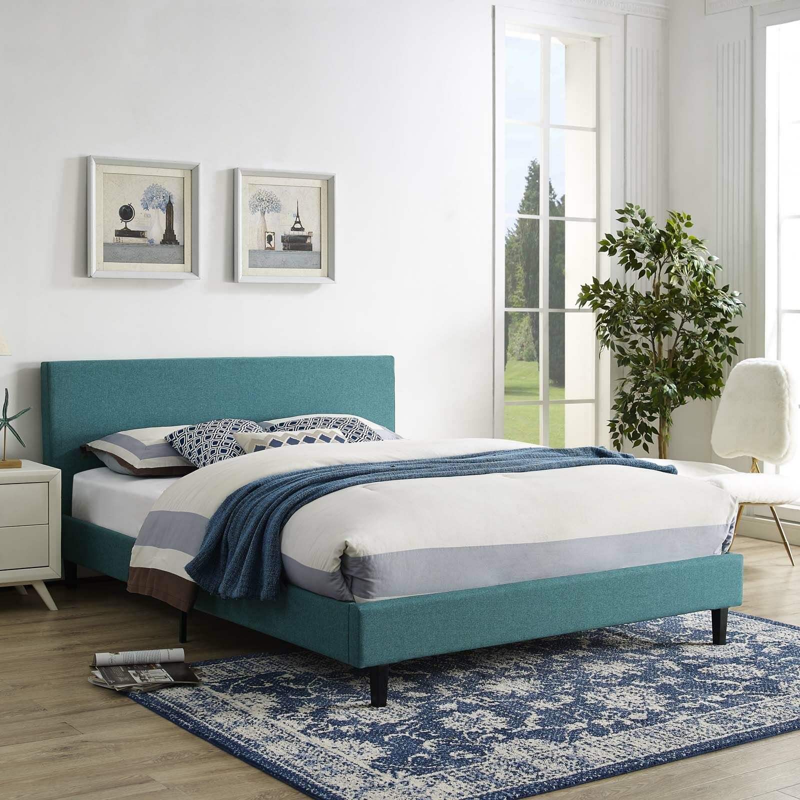 Tafolla Bed Frame Size: Queen, Color: Teal
