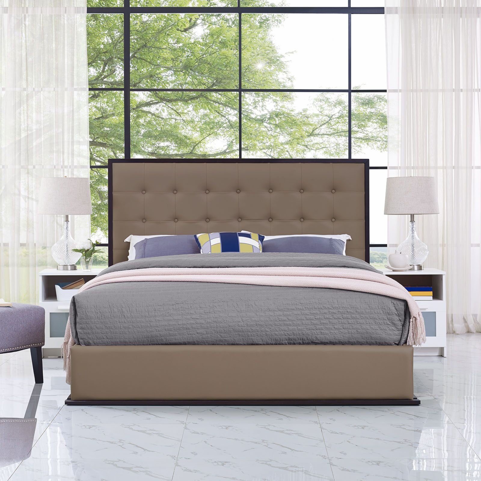 Madeline Queen Bed Frame Color: Brown