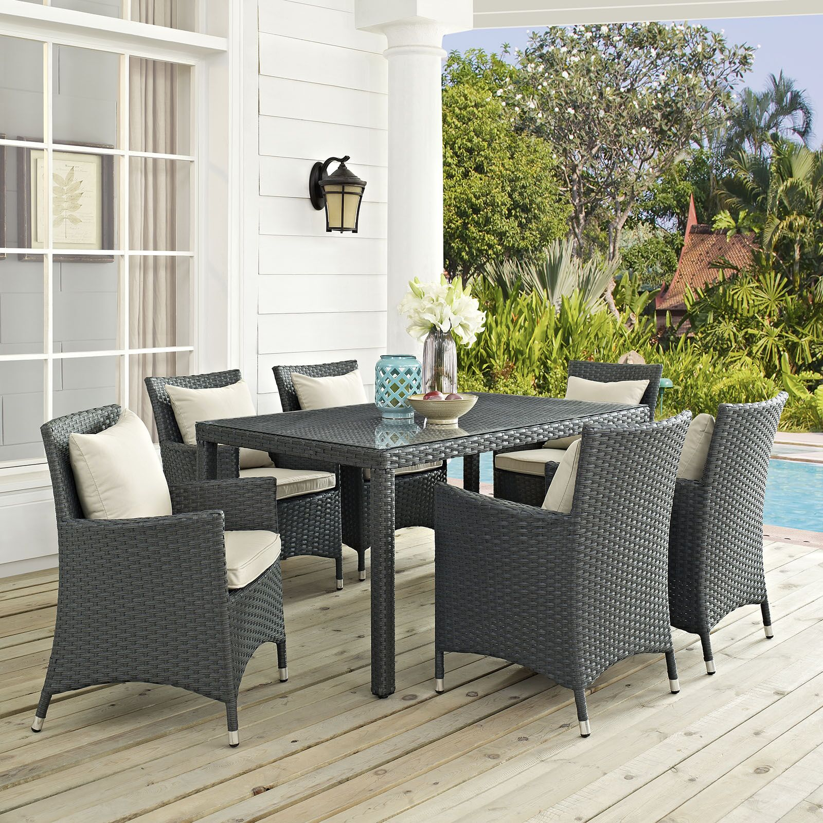Tripp 7 Piece Dinning Set with Cushions Cushion Color: Beige