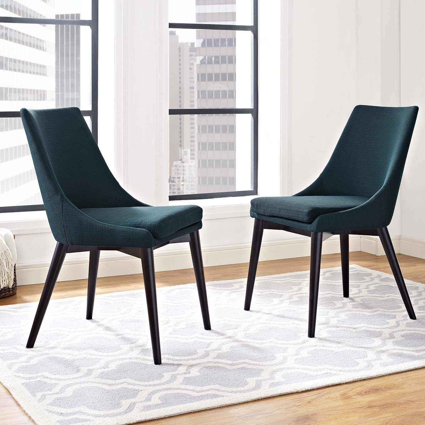 Minton Dining Side Chair Upholstery Color: Azure