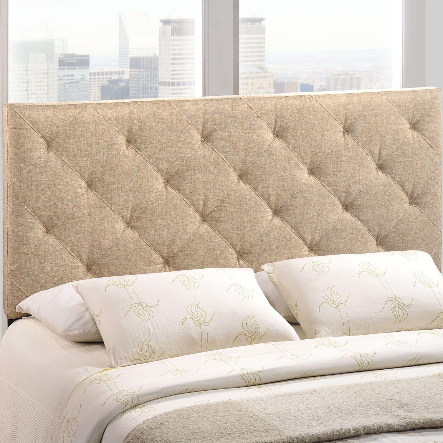 Theodore Upholstered Panel Headboard Upholstery: Beige, Size: Full