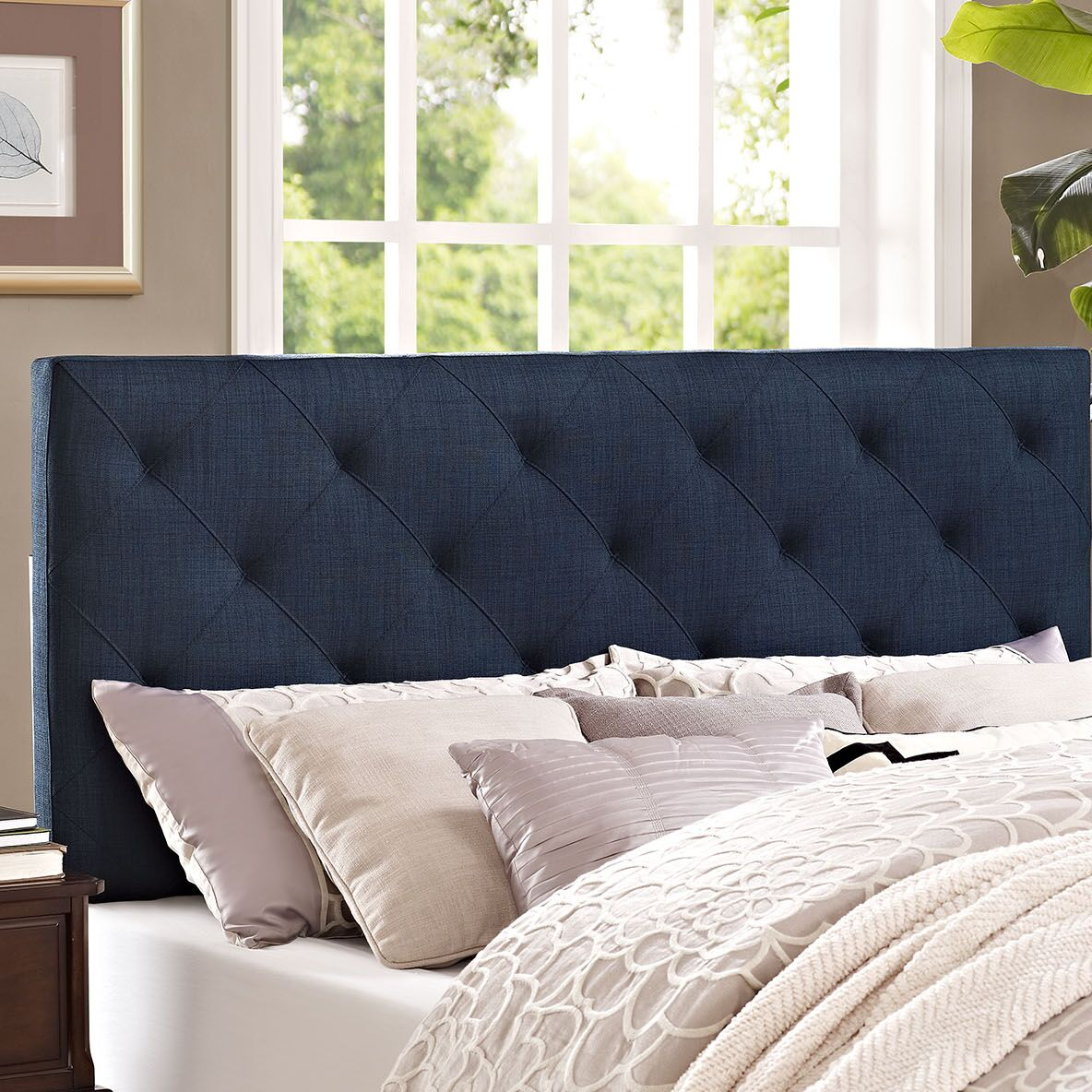 Theodore Upholstered Panel Headboard Upholstery: Navy, Size: Twin