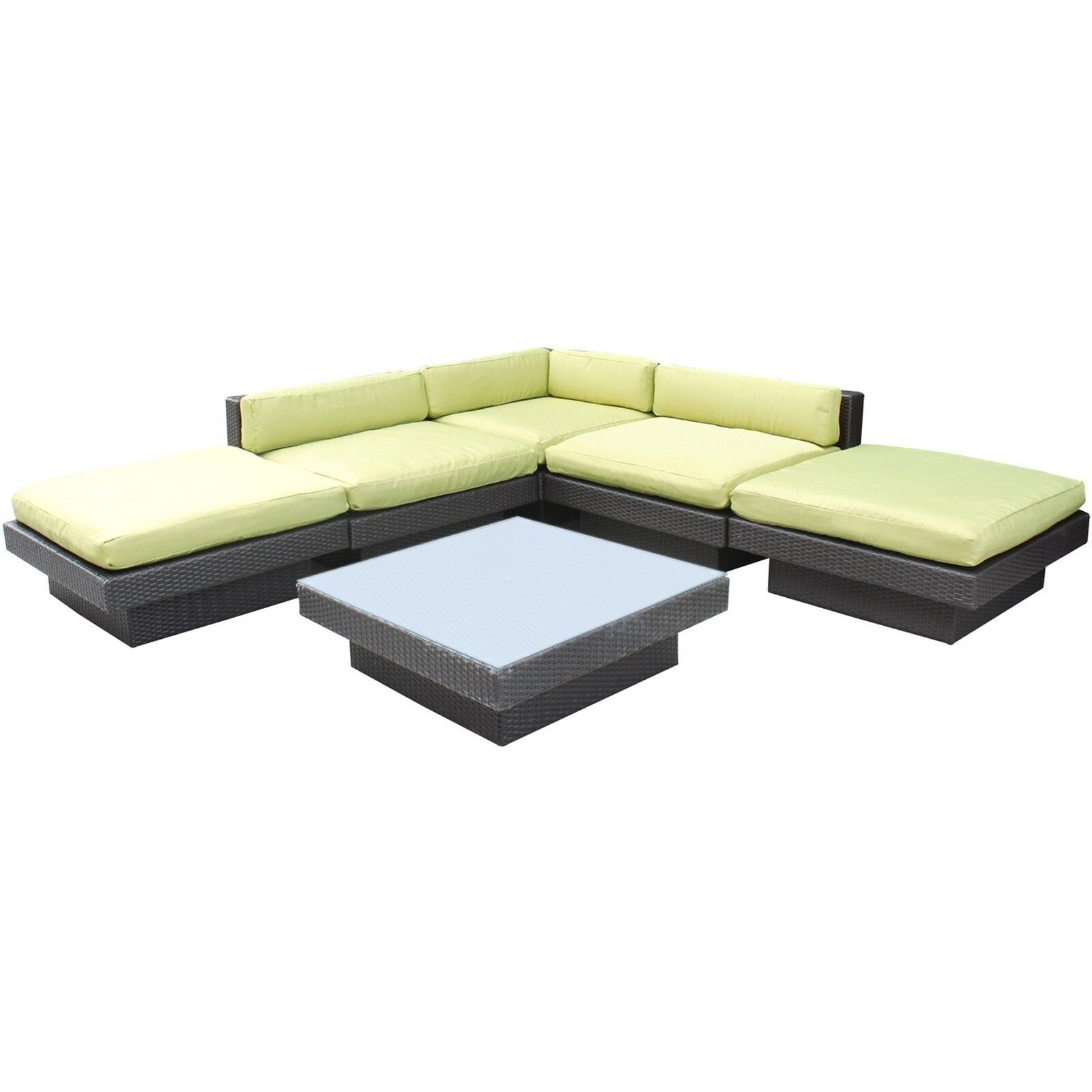 Luxury 6 Piece Rattan Sectional Set with Cushions Color: Espresso, Fabric: Peridot