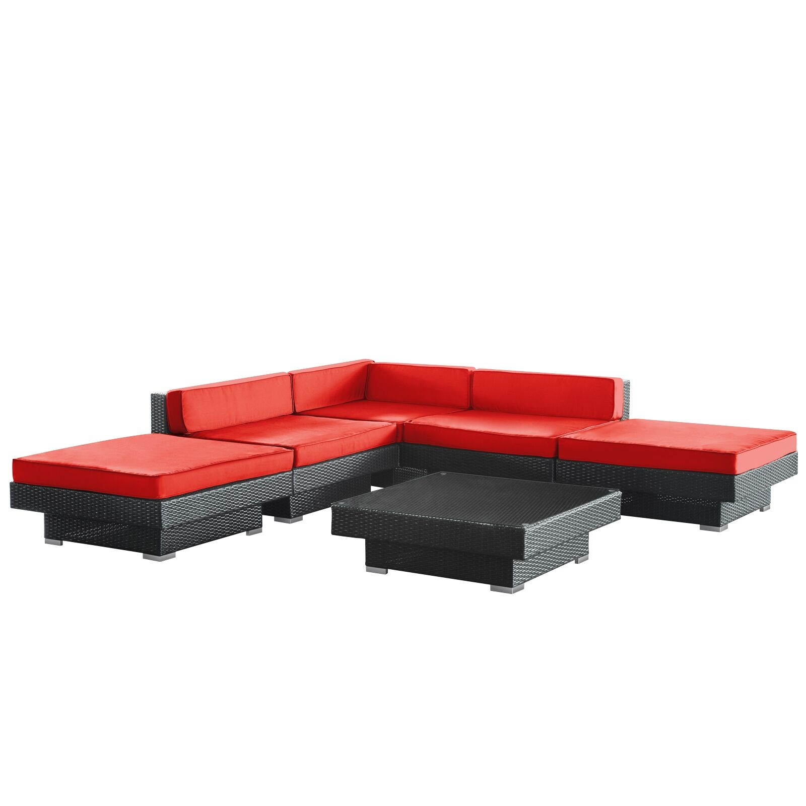 Luxury 6 Piece Rattan Sectional Set with Cushions Color: Espresso, Fabric: Red