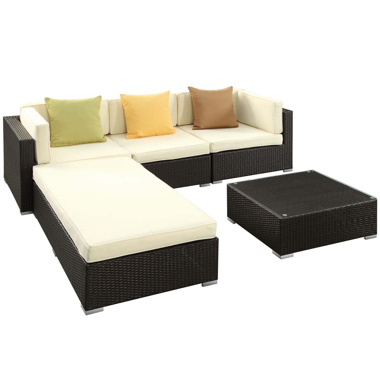 Lambid 5 Piece Rattan Sectional Set with Cushions