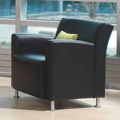 Jenny Lounge Leather Lounge Chair Leather Color: Steelcase Leather - Soapstone, Leg Type: Black Plastic
