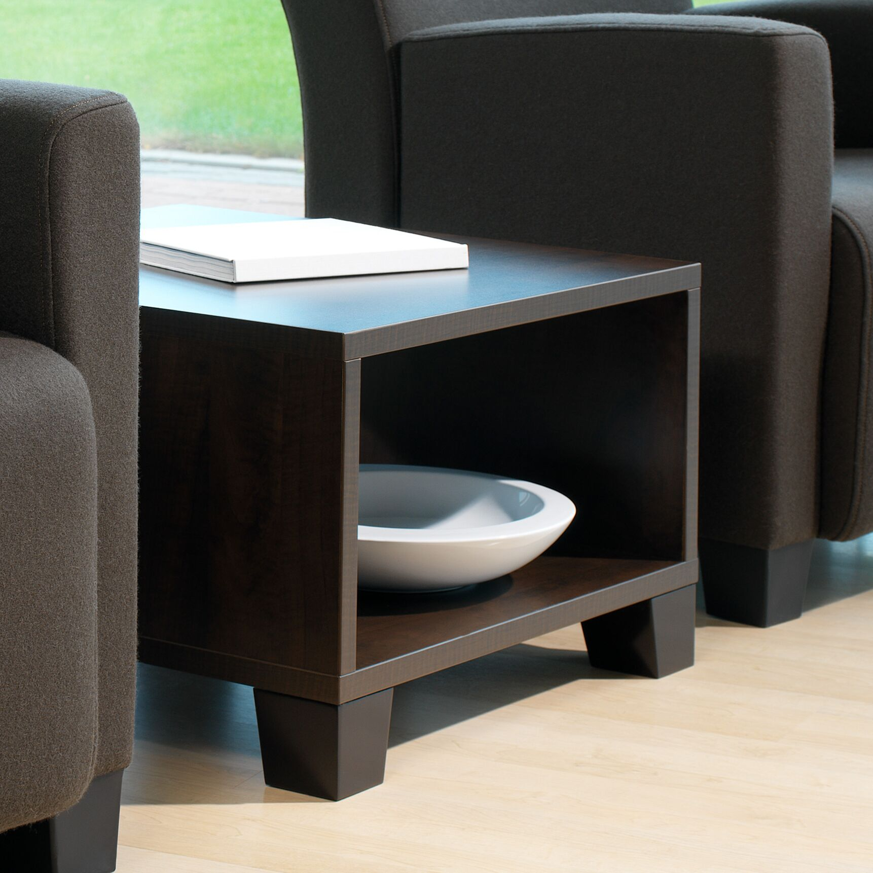Turnstone by Steelcase� Jenny� Coffee Table Base Color: Solid Maple Legs - Clear Maple, Top Color: Marbled Cherry