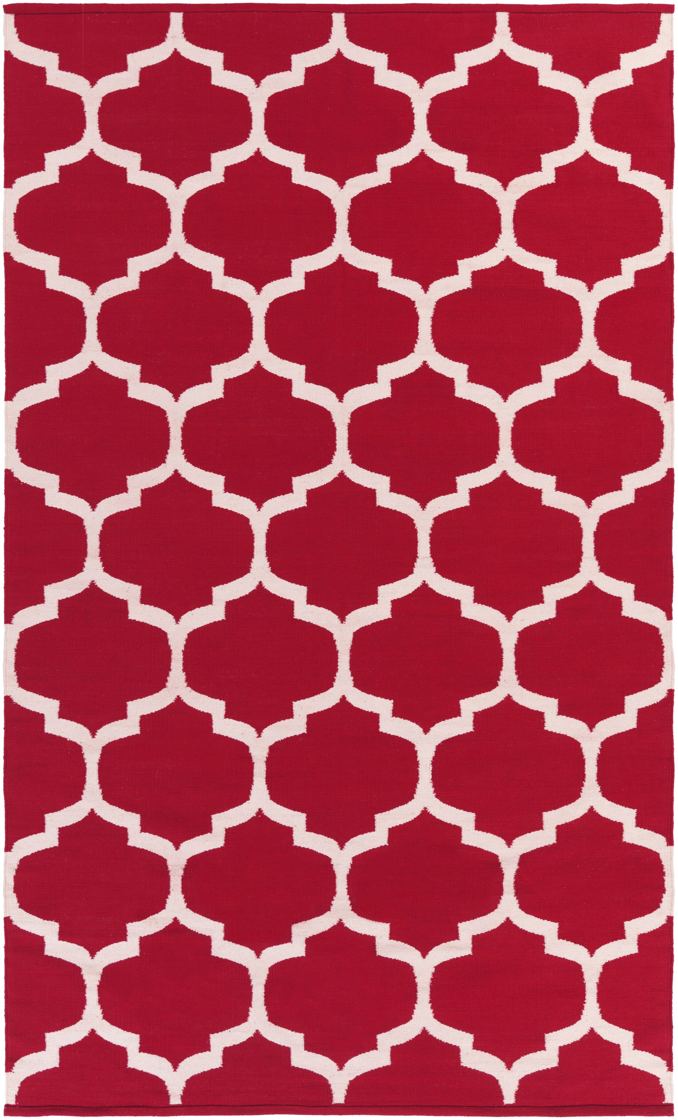 Bohannon Red & Off White Geometric Area Rug Rug Size: Rectangle 5' x 8'