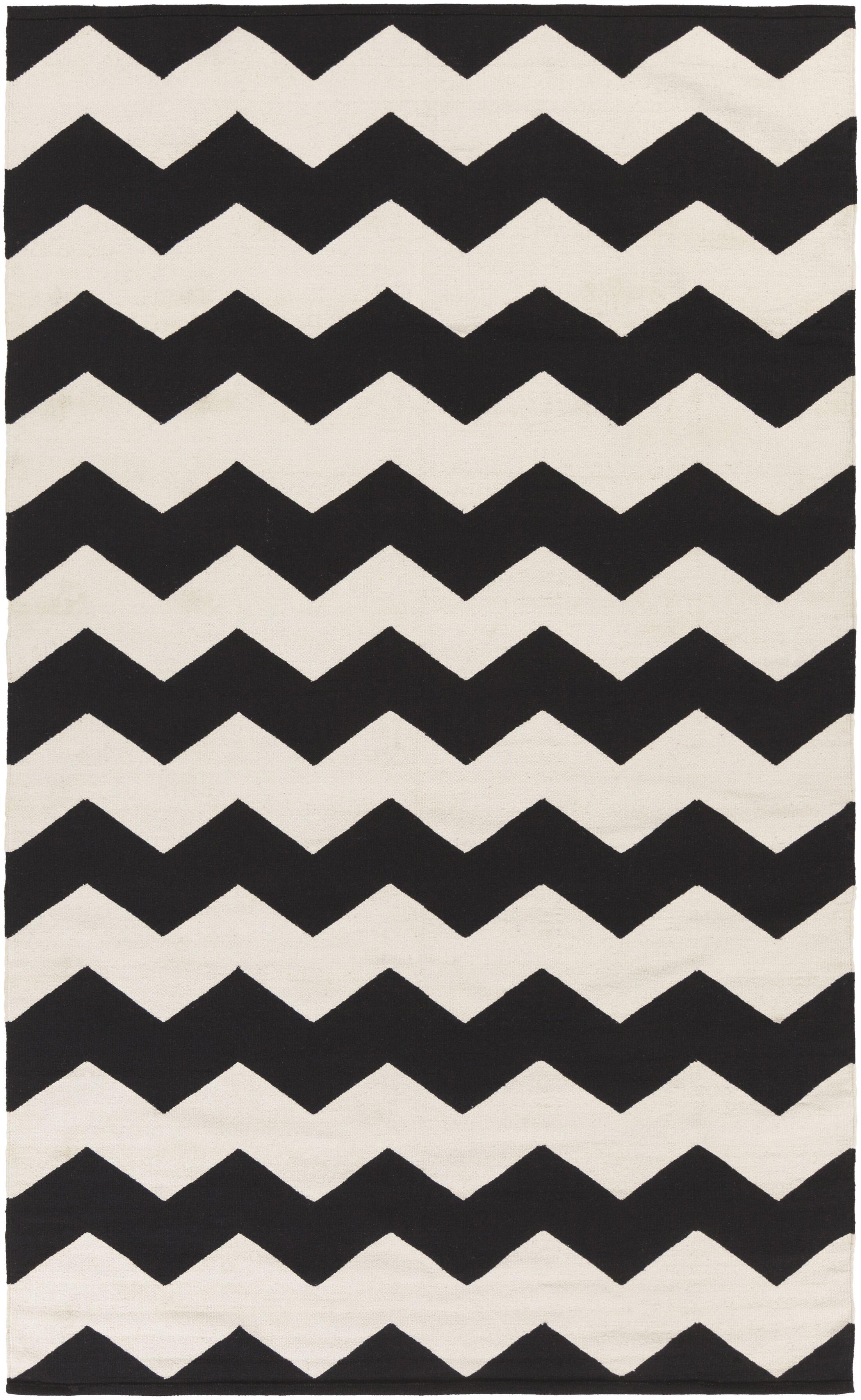 Murguia Black Chevron Area Rug Rug Size: Rectangle 9' x 12'