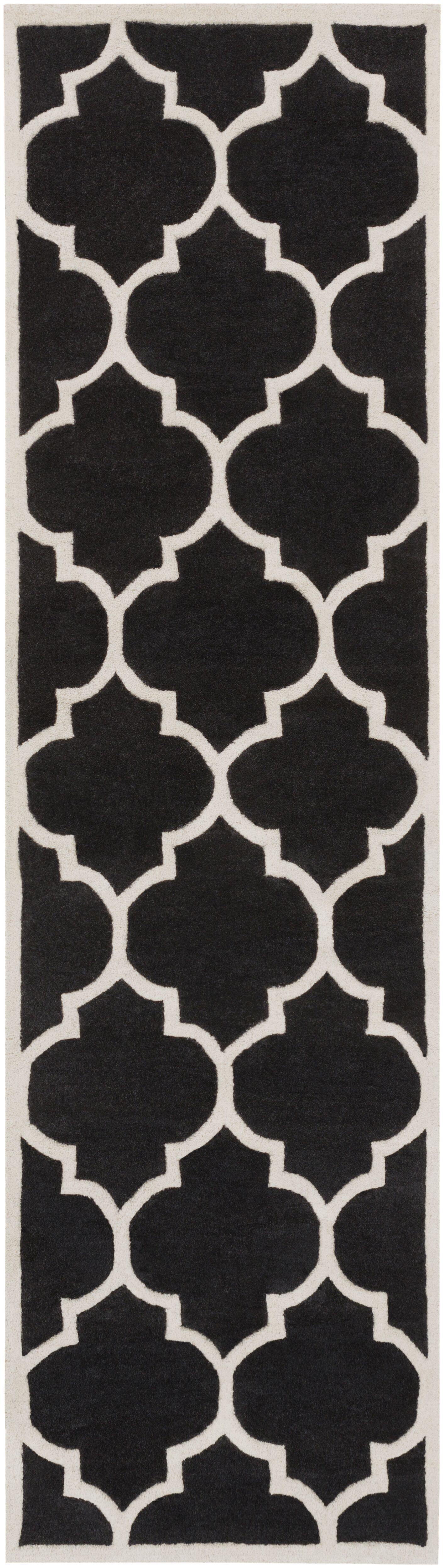 Ayler Black Geometric Area Rug Rug Size: Runner 2'3