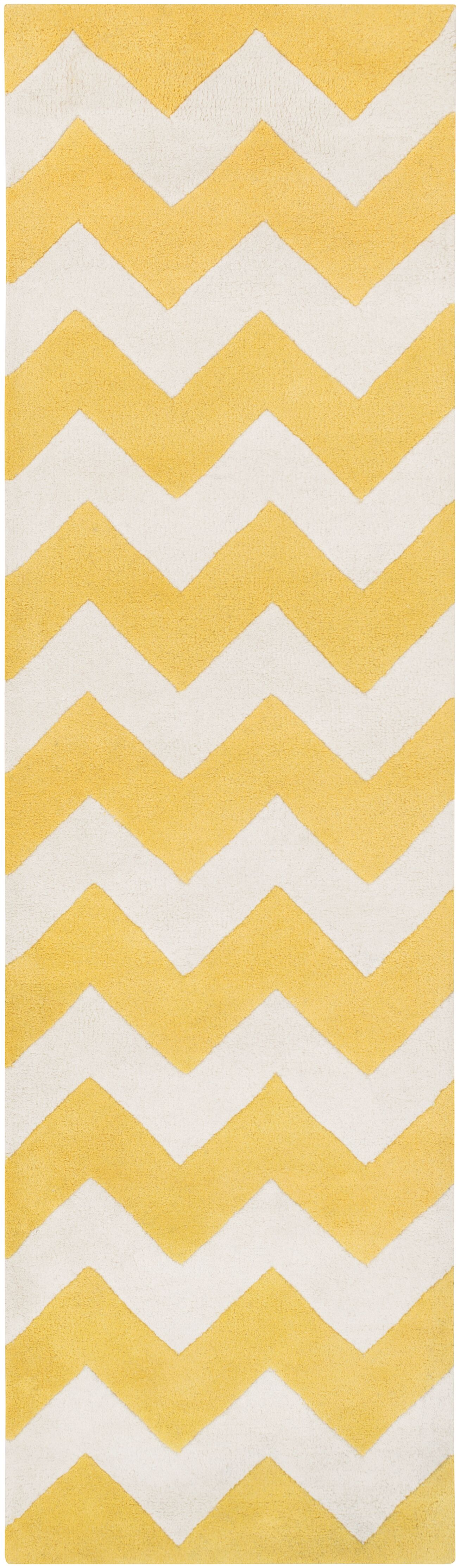 Ayler Yellow/Ivory Chevron Area Rug Rug Size: Runner 2'3