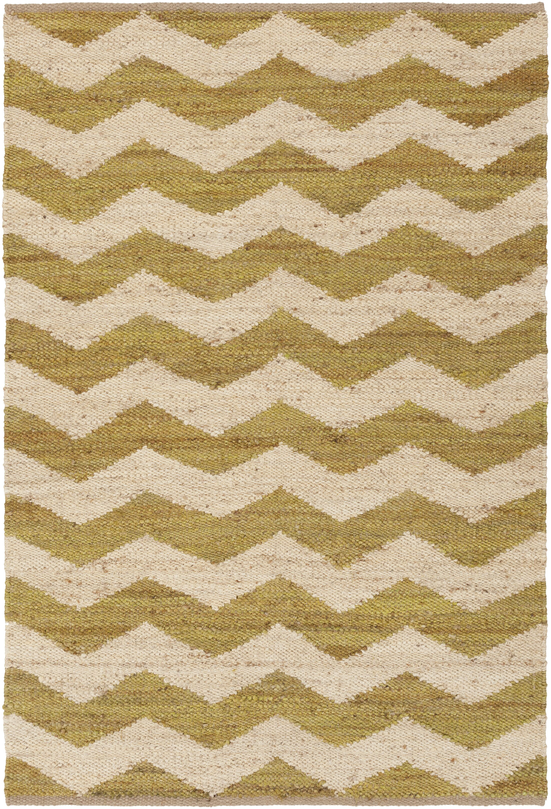 Ayers Hand Woven Green/Ivory Area Rug Rug Size: Rectangle 4' x 6'