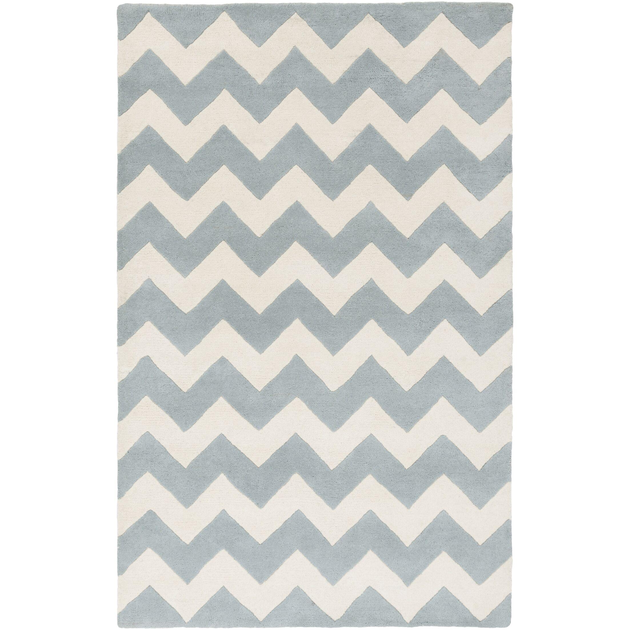 Ayler Blue/Ivory Chevron Area Rug Rug Size: Rectangle 7'6