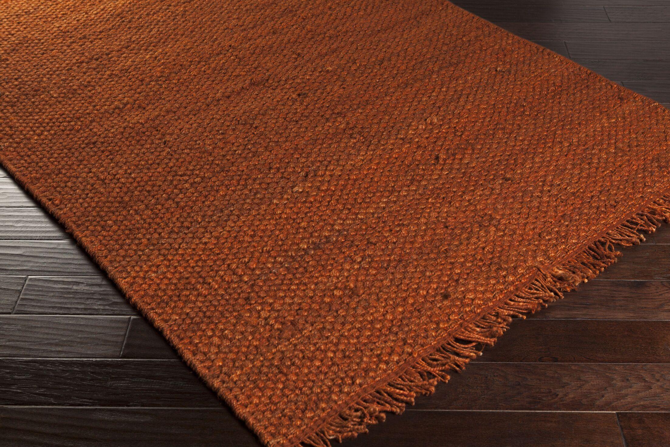 Pineda Hand Woven Rust Area Rug Rug Size: Rectangle 8' x 10'