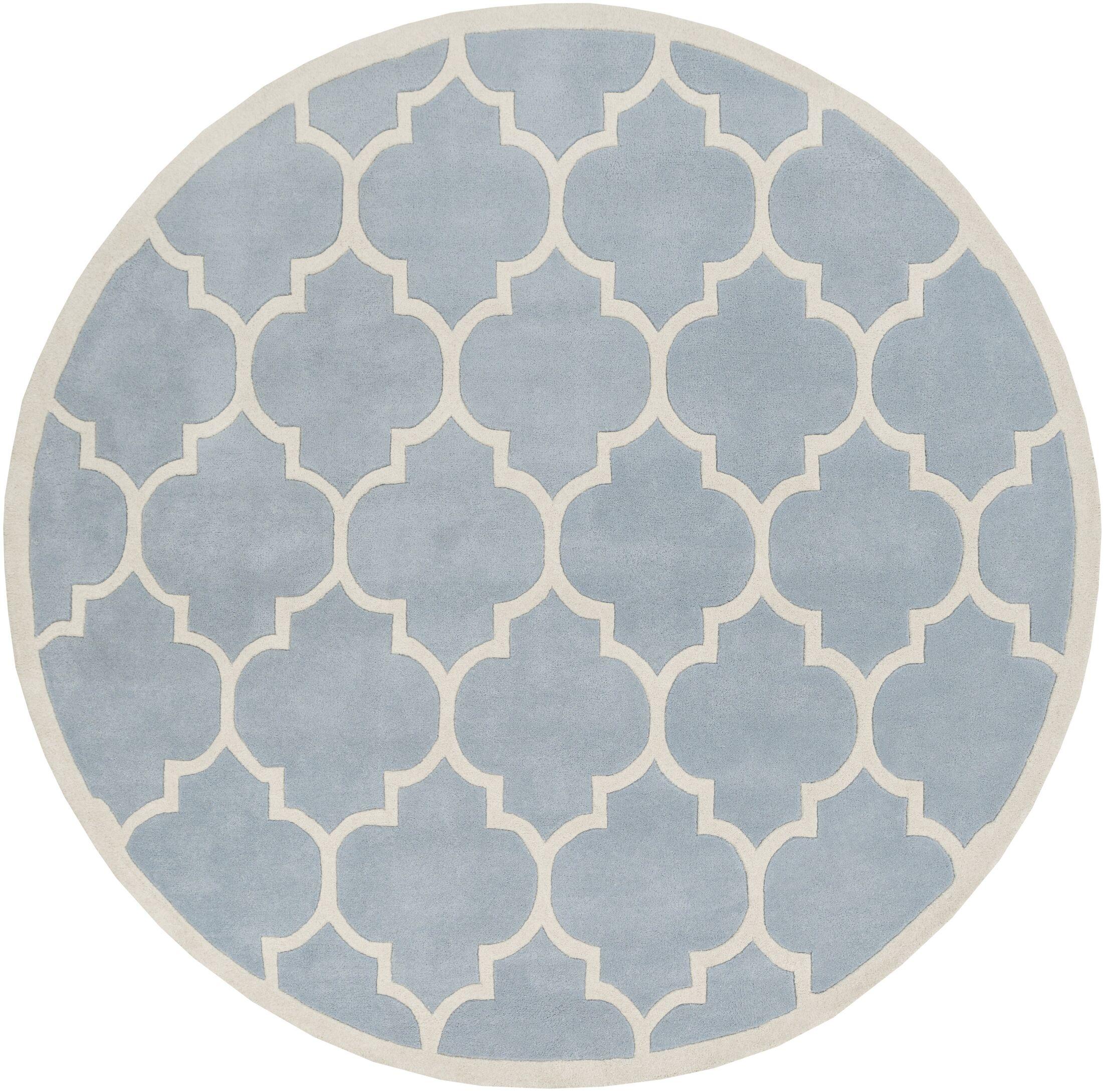 Ayler Blue Geometric Area Rug Rug Size: Round 8'