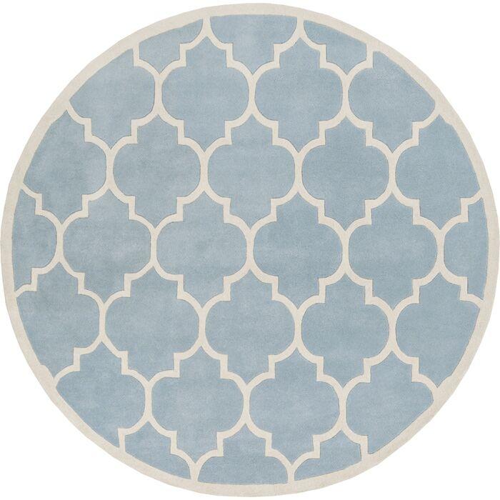 Ayler Blue Geometric Area Rug Rug Size: Round 6'