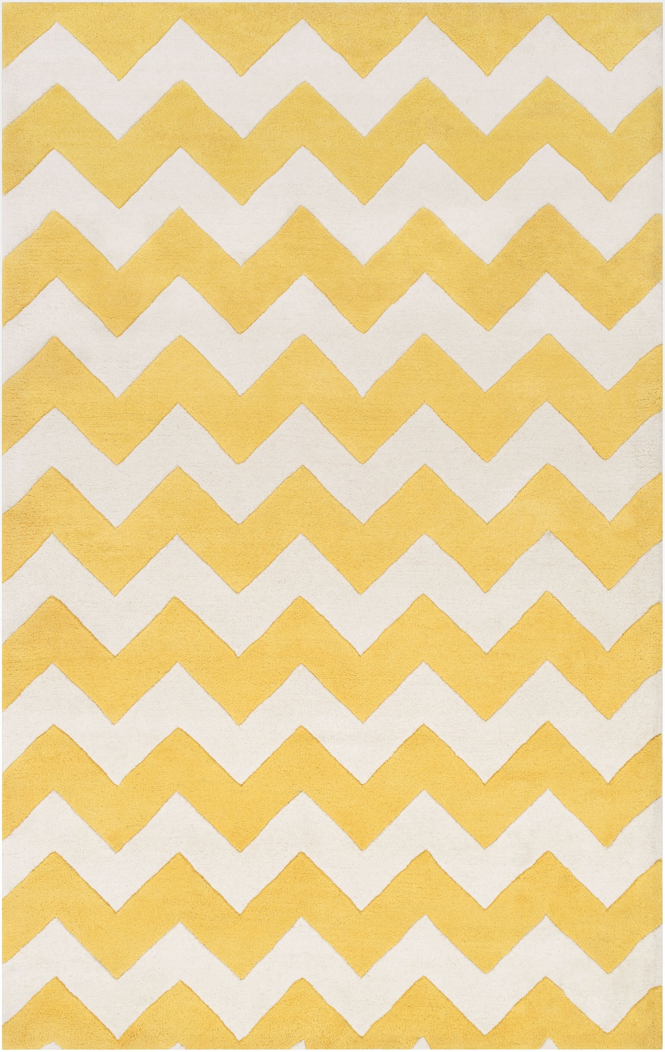 Ayler Yellow/Ivory Chevron Area Rug Rug Size: Rectangle 9' x 13'