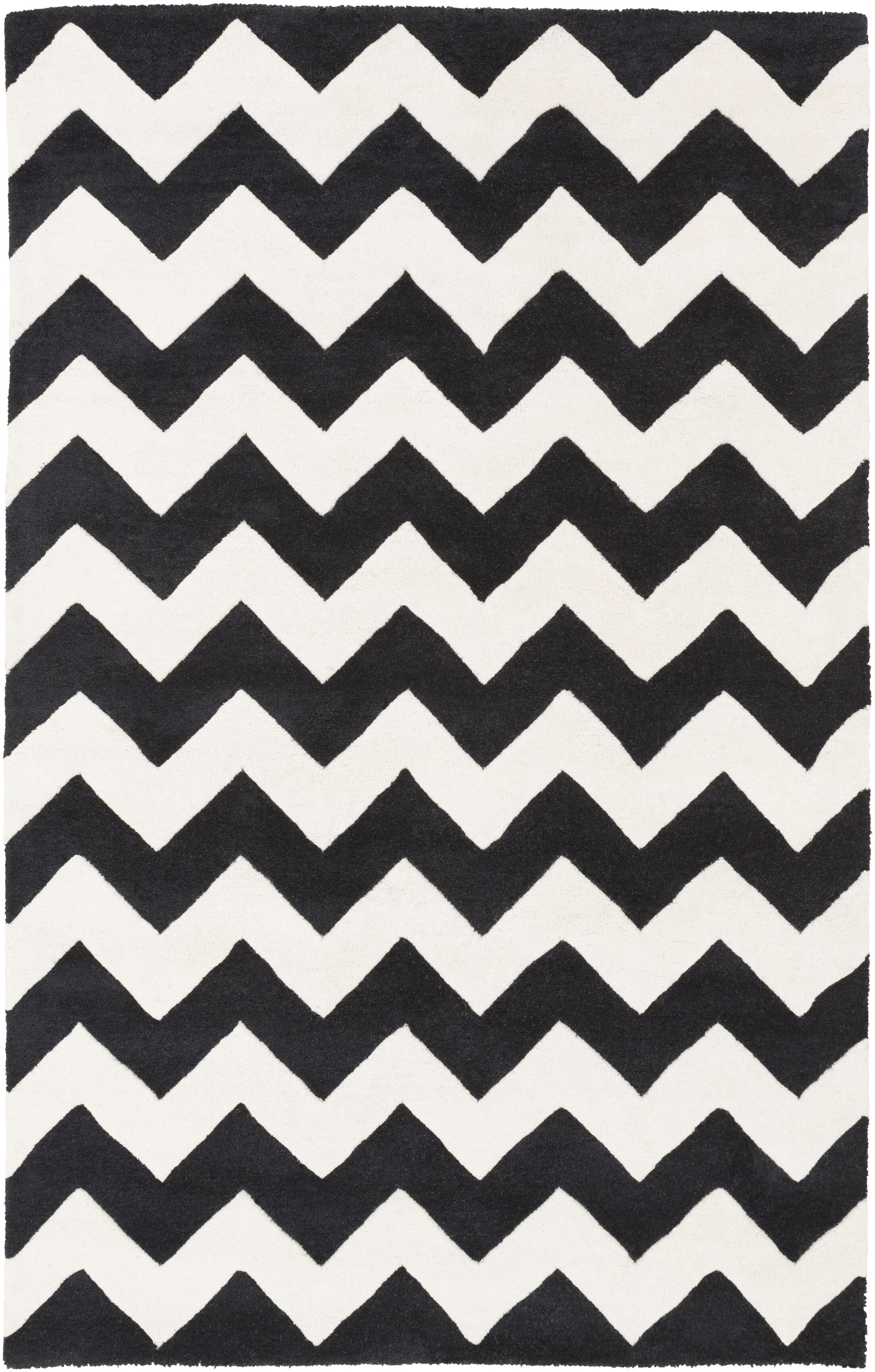 Ayler Black & Ivory Chevron Area Rug Rug Size: Rectangle 7'6