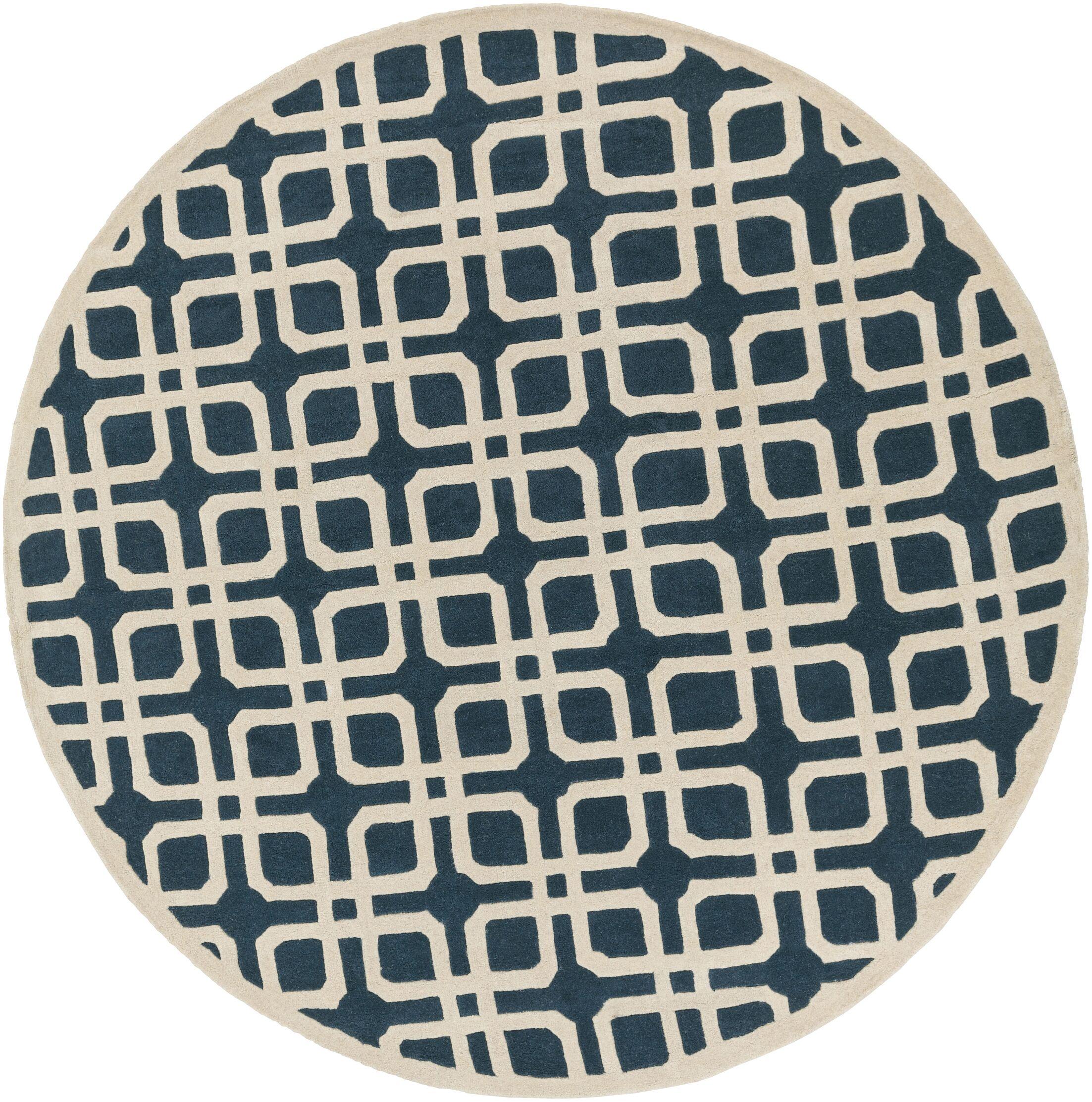 Murrah Blue/Ivory Area Rug Rug Size: Round 3'6