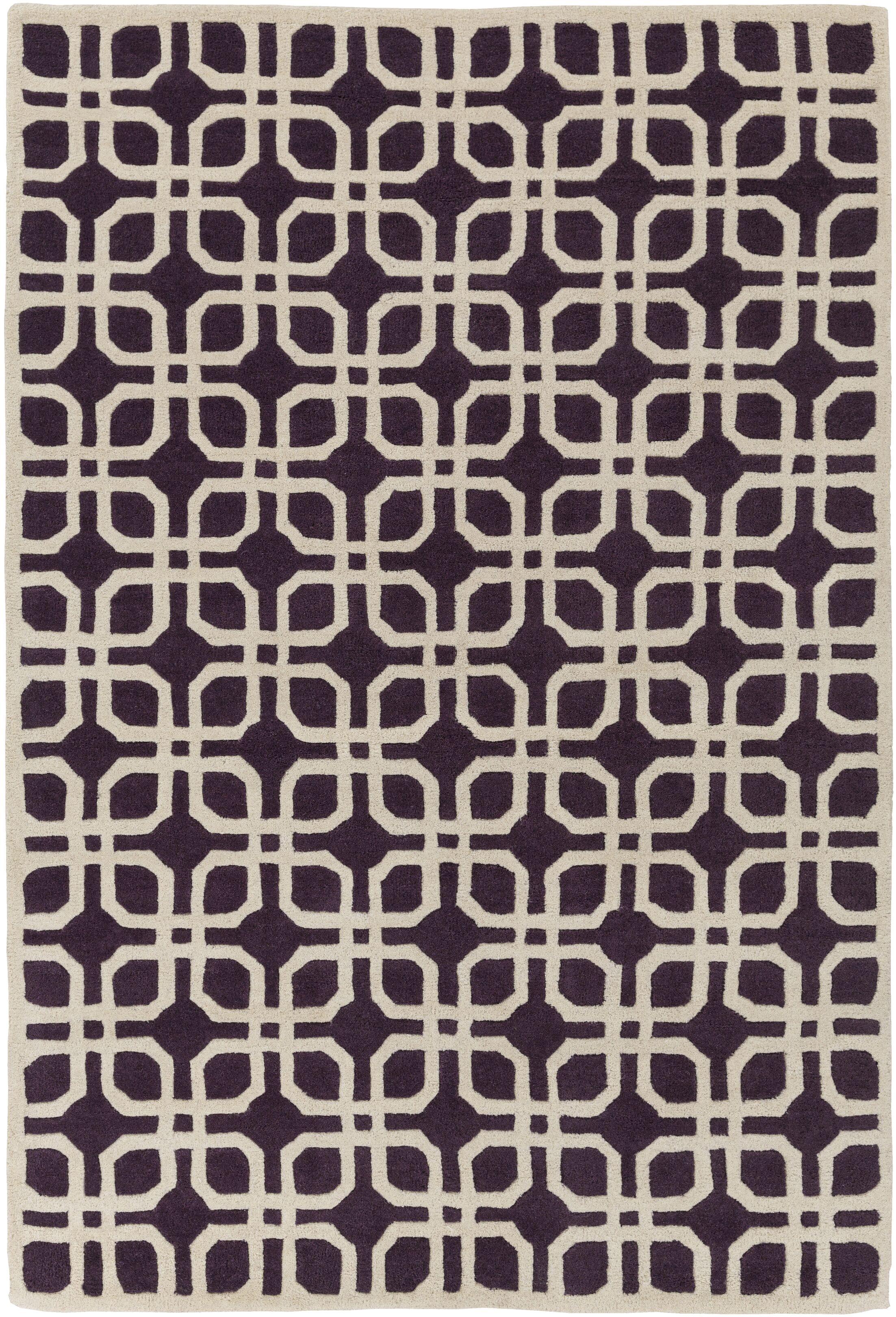 Murrah Purple/Ivory Area Rug Rug Size: Rectangle 5' x 8'