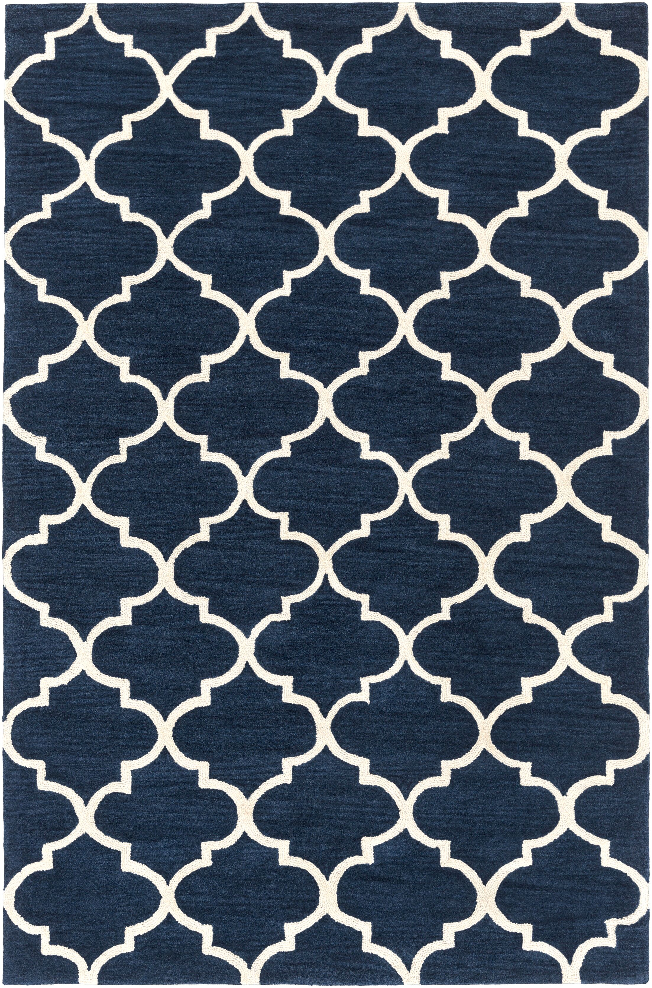 Cleaves Navy/Ivory Area Rug Rug Size: Rectangle 5' x 7'6