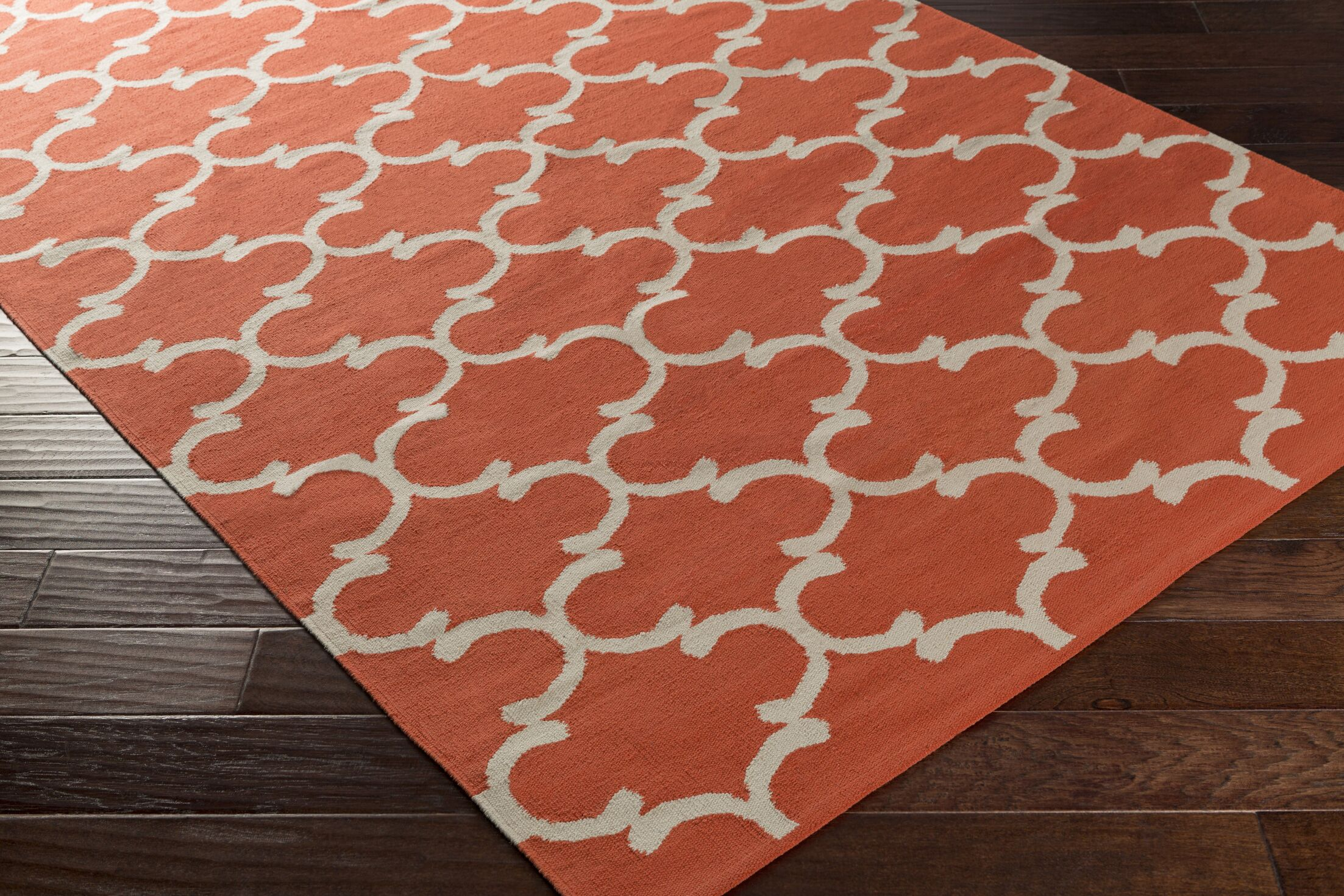 Ayles Coral/Ivory Area Rug Rug Size: Rectangle 5' x 7'6