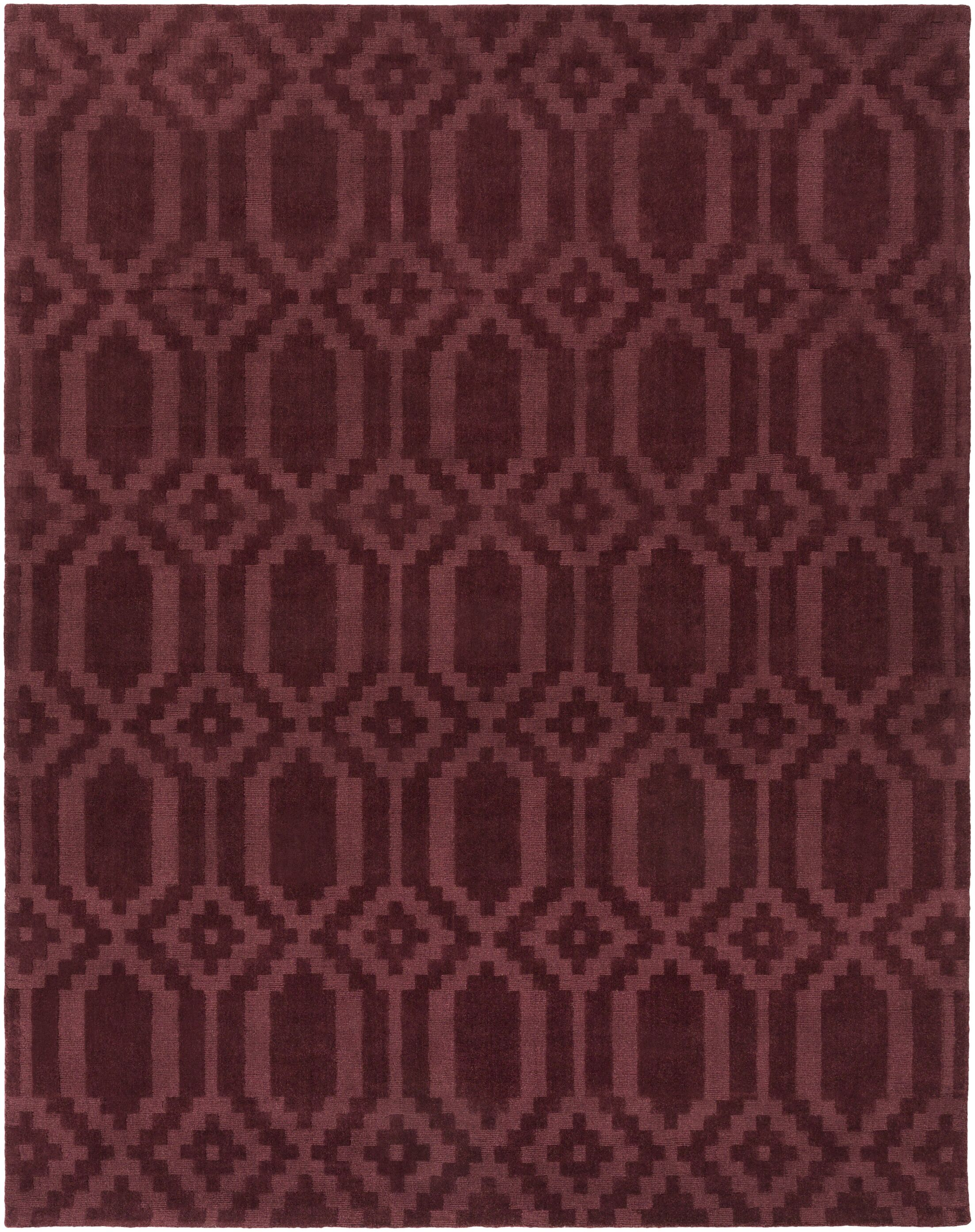 Brack Hand-Loomed Burgundy Area Rug Rug Size: Rectangle 8' x 10'