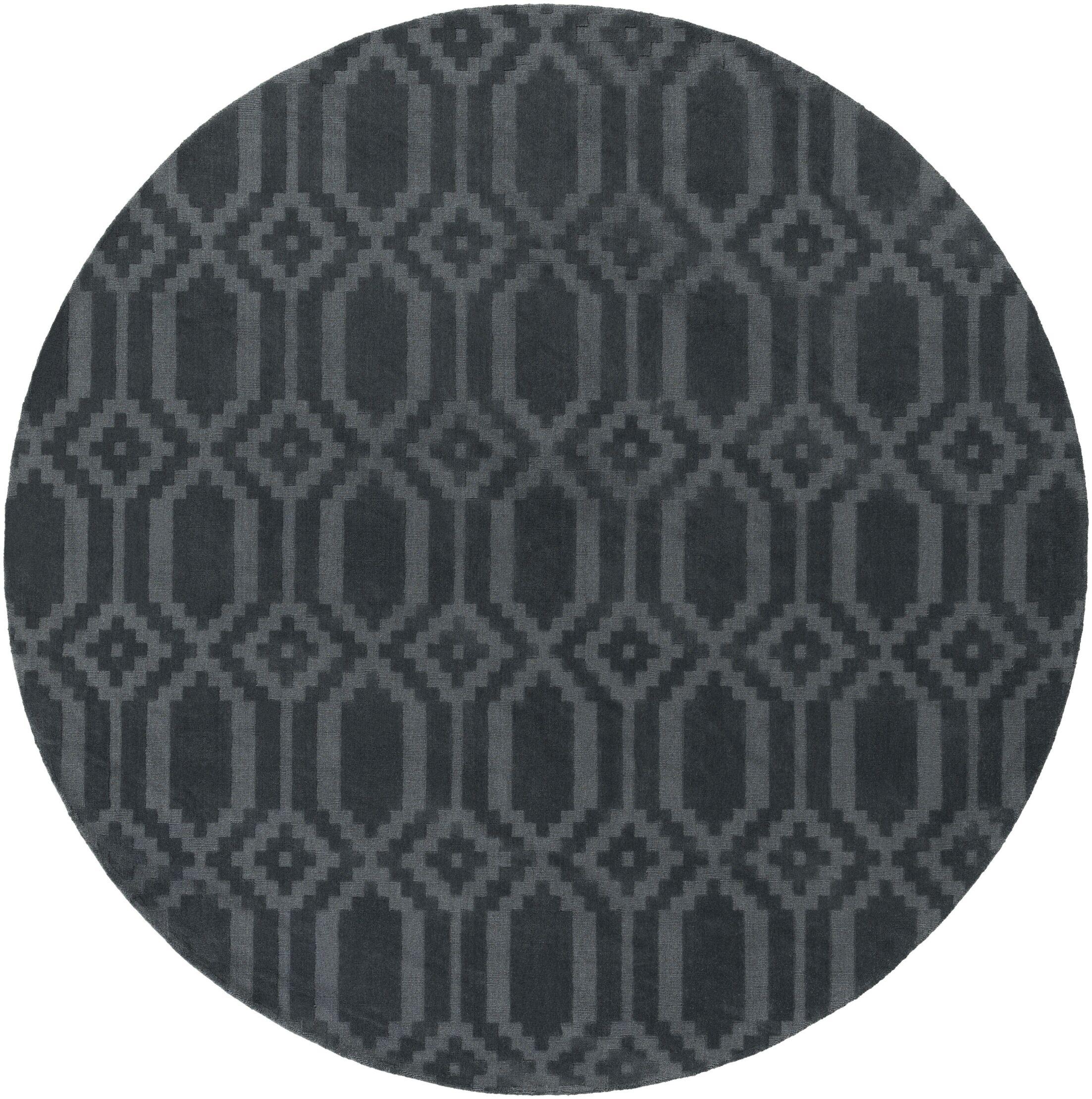 Brack Hand-Loomed Denim Area Rug Rug Size: Round 9'9