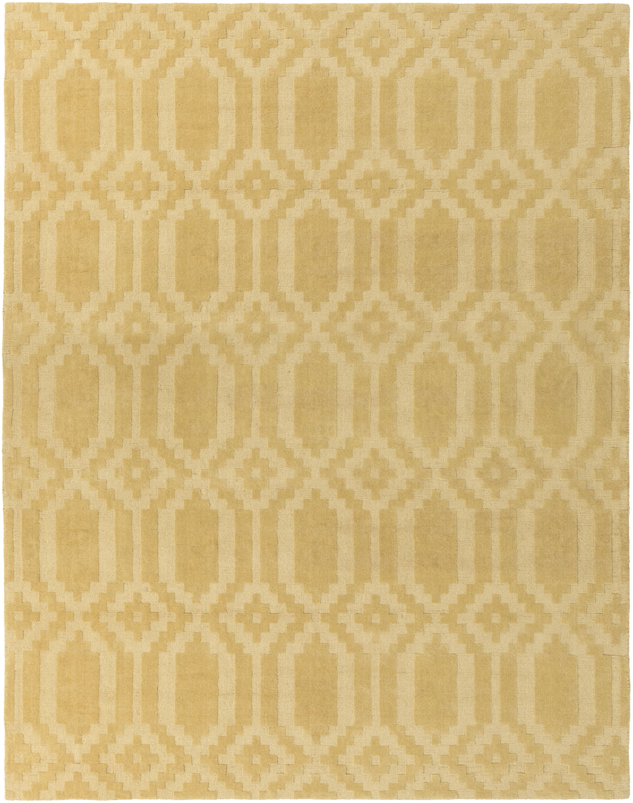 Brack Hand-Loomed Yellow Area Rug Rug Size: Rectangle 10' x 14'