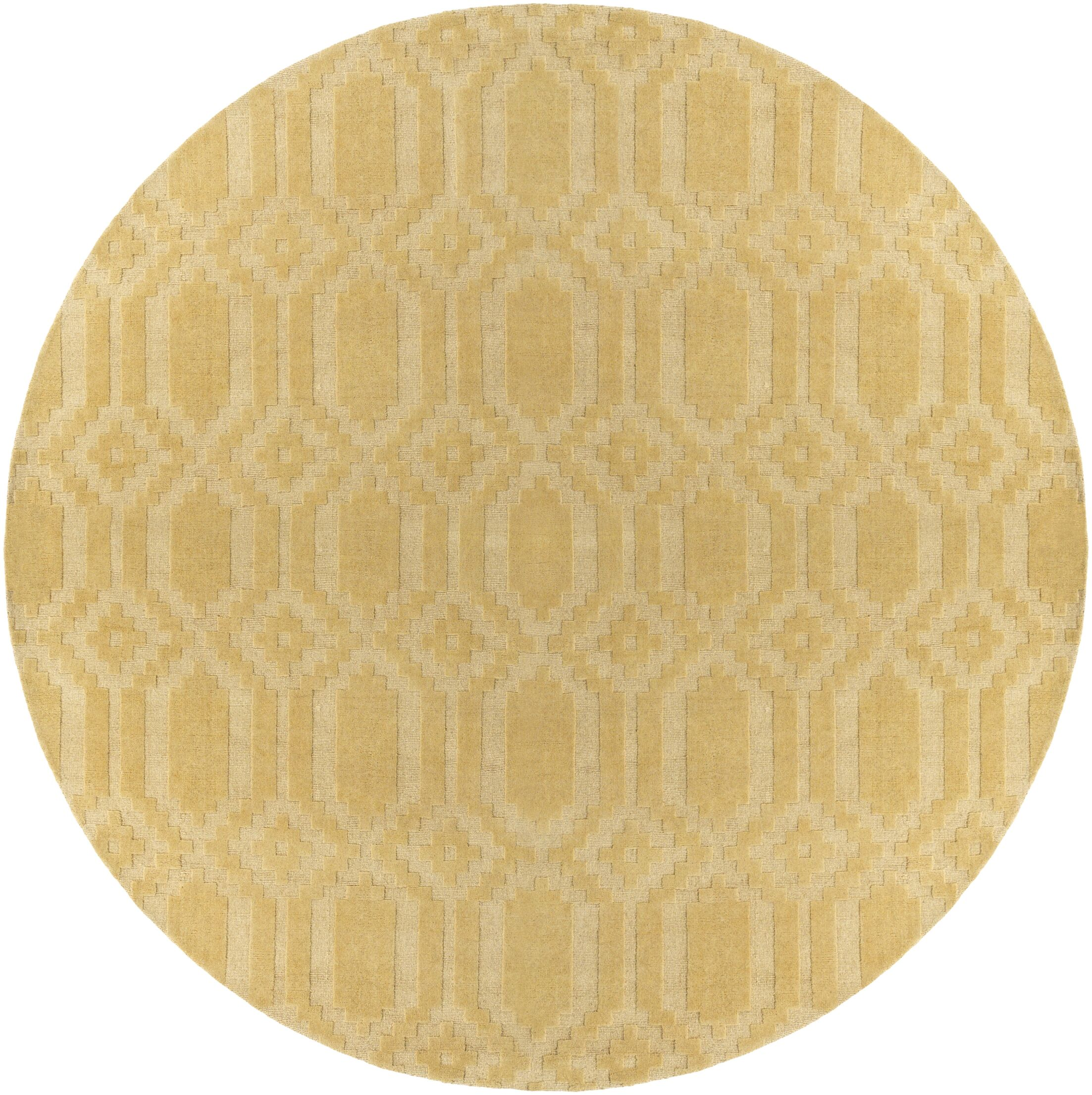 Brack Hand-Loomed Yellow Area Rug Rug Size: Round 9'9