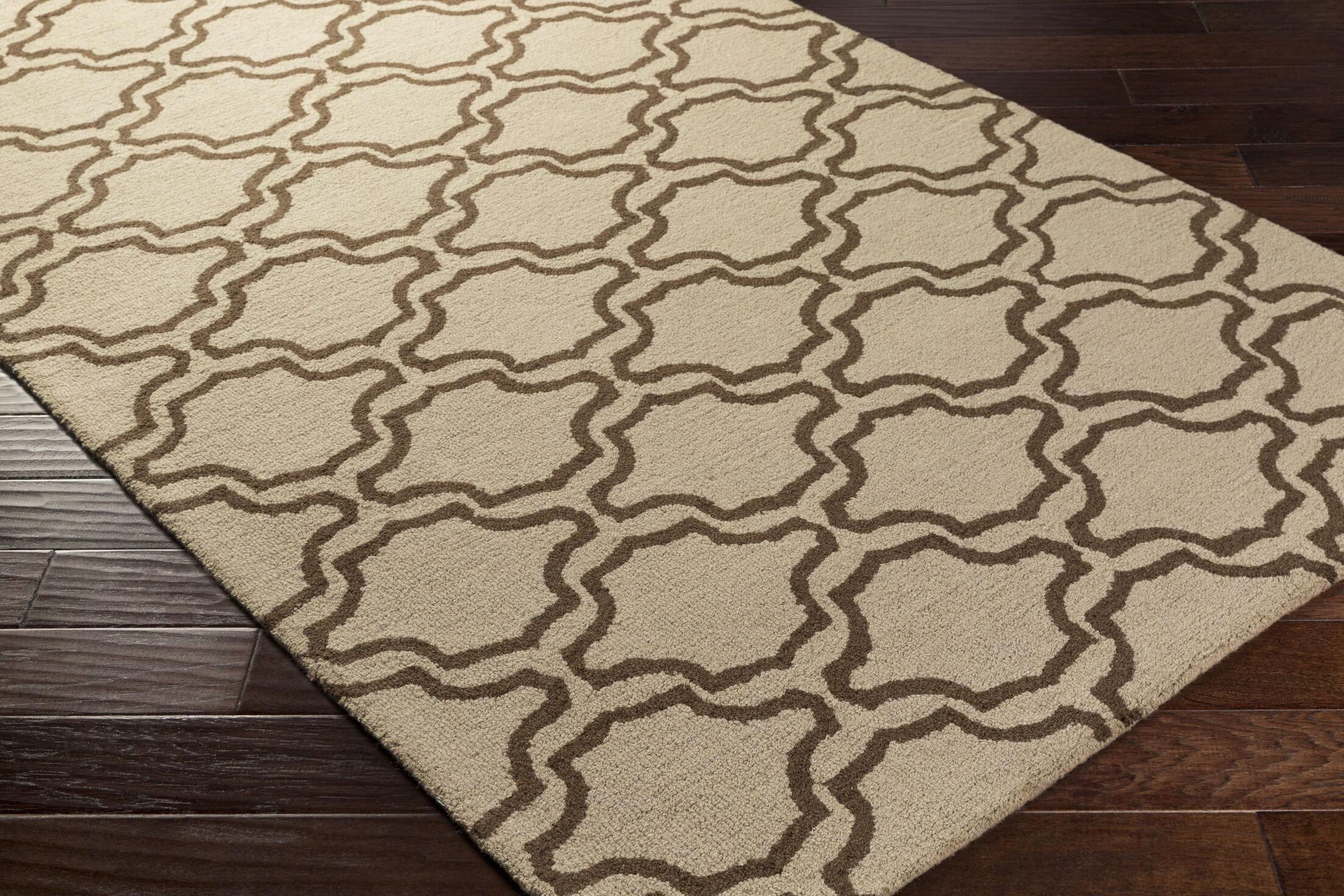 Coulombe Hand-Tufted Beige Area Rug Rug Size: Rectangle 9' x 13'