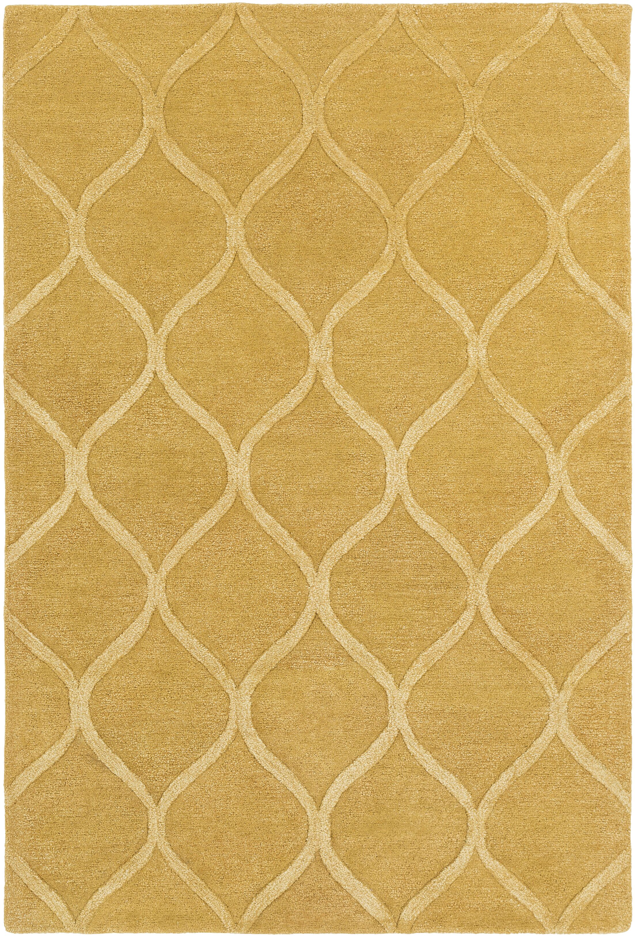 Bronaugh Hand-Tufted Gold Area Rug Rug Size: Round 6'