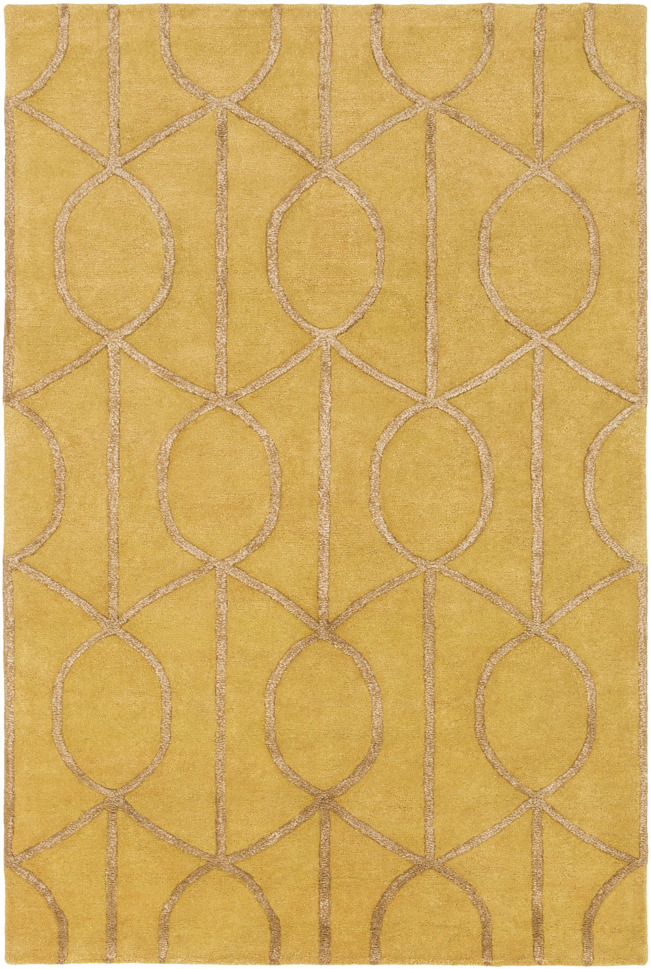 Abbey Hand-Tufted Gold Area Rug Rug Size: Round 3'6