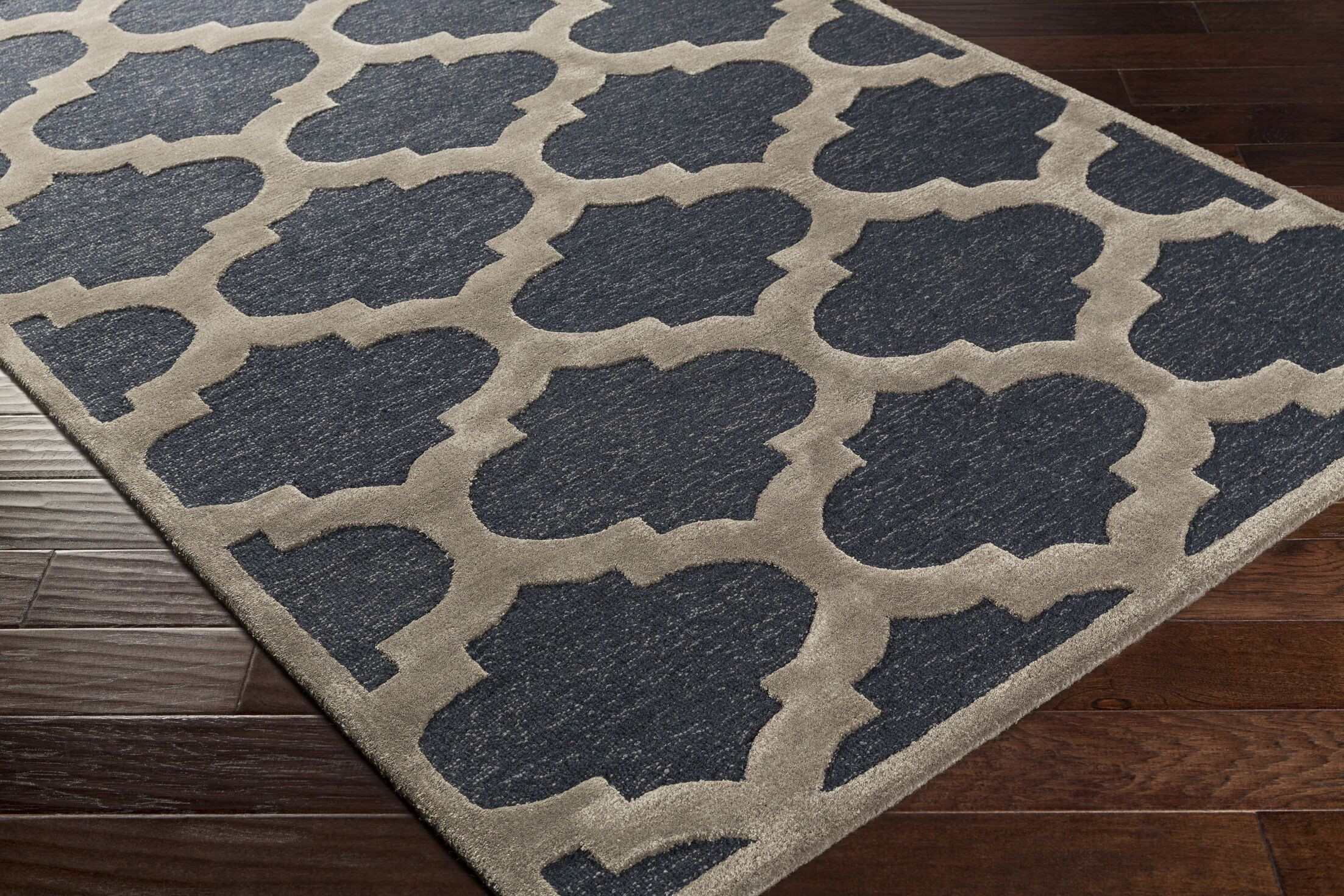 Boise Hand-Tufted Navy Area Rug Rug Size: Round 3'6