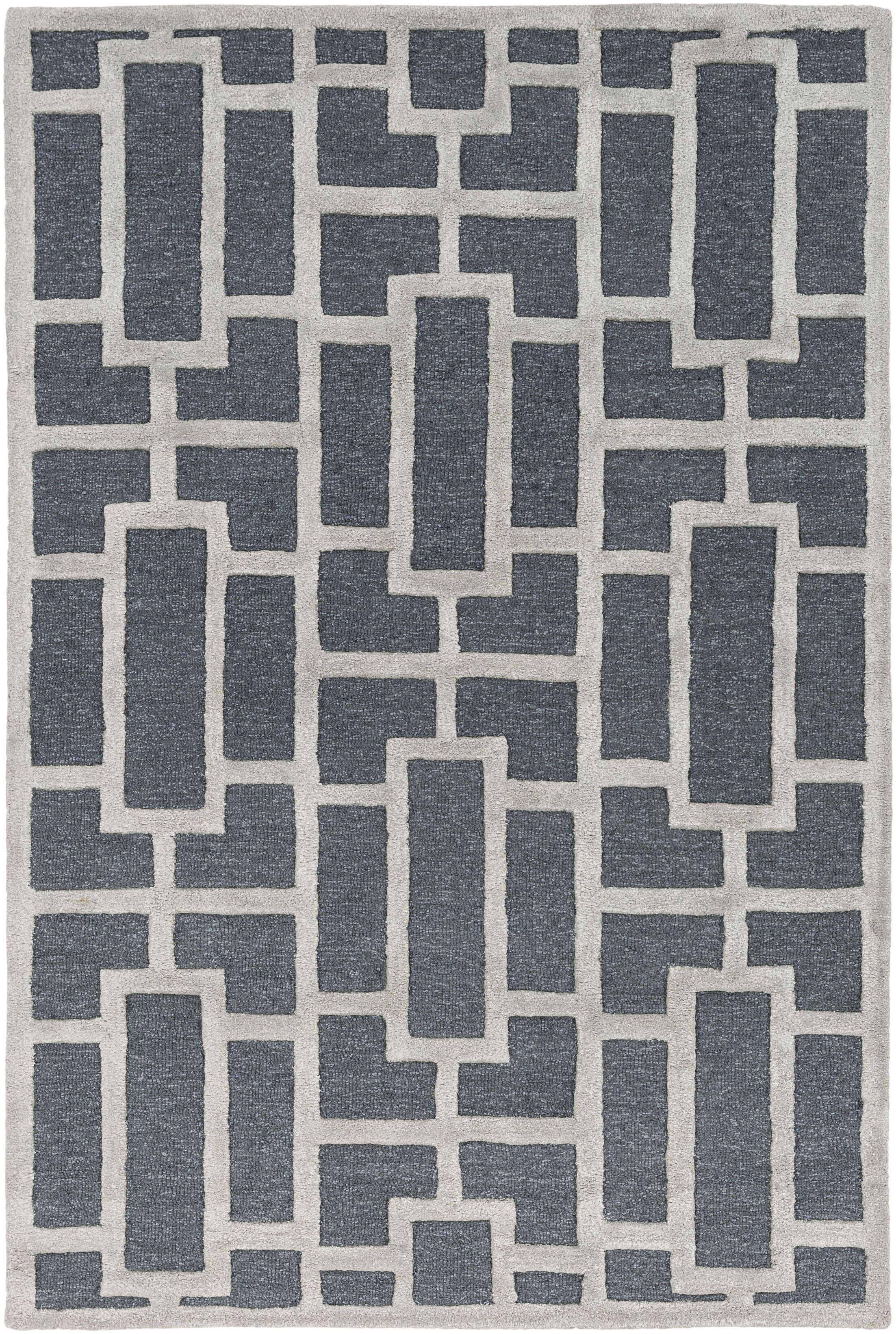 Perpetua Hand-Tufted Navy Area Rug Rug Size: Rectangle 4' x 6'
