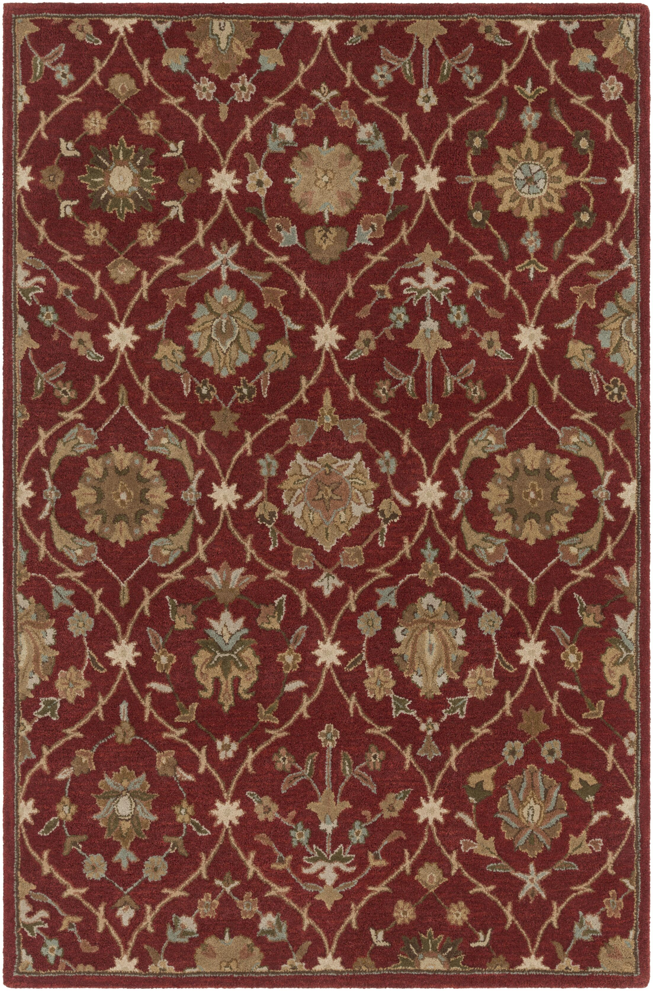 Phinney Hand-Tufted Red Area Rug Rug Size: Rectangle 5' x 7'6